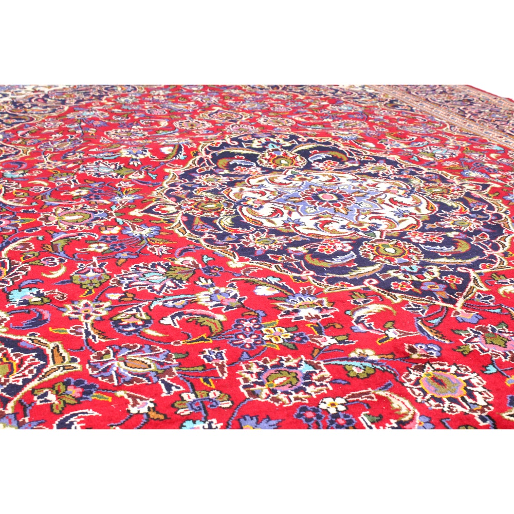 Hand-Knotted Vintage Persian Kashan Room Size Rug