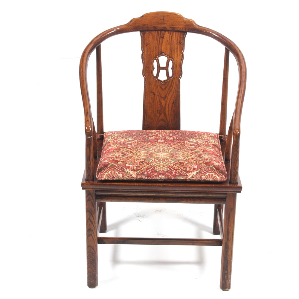 Vintage Chinese Inspired Oak Armchair by Henredon
