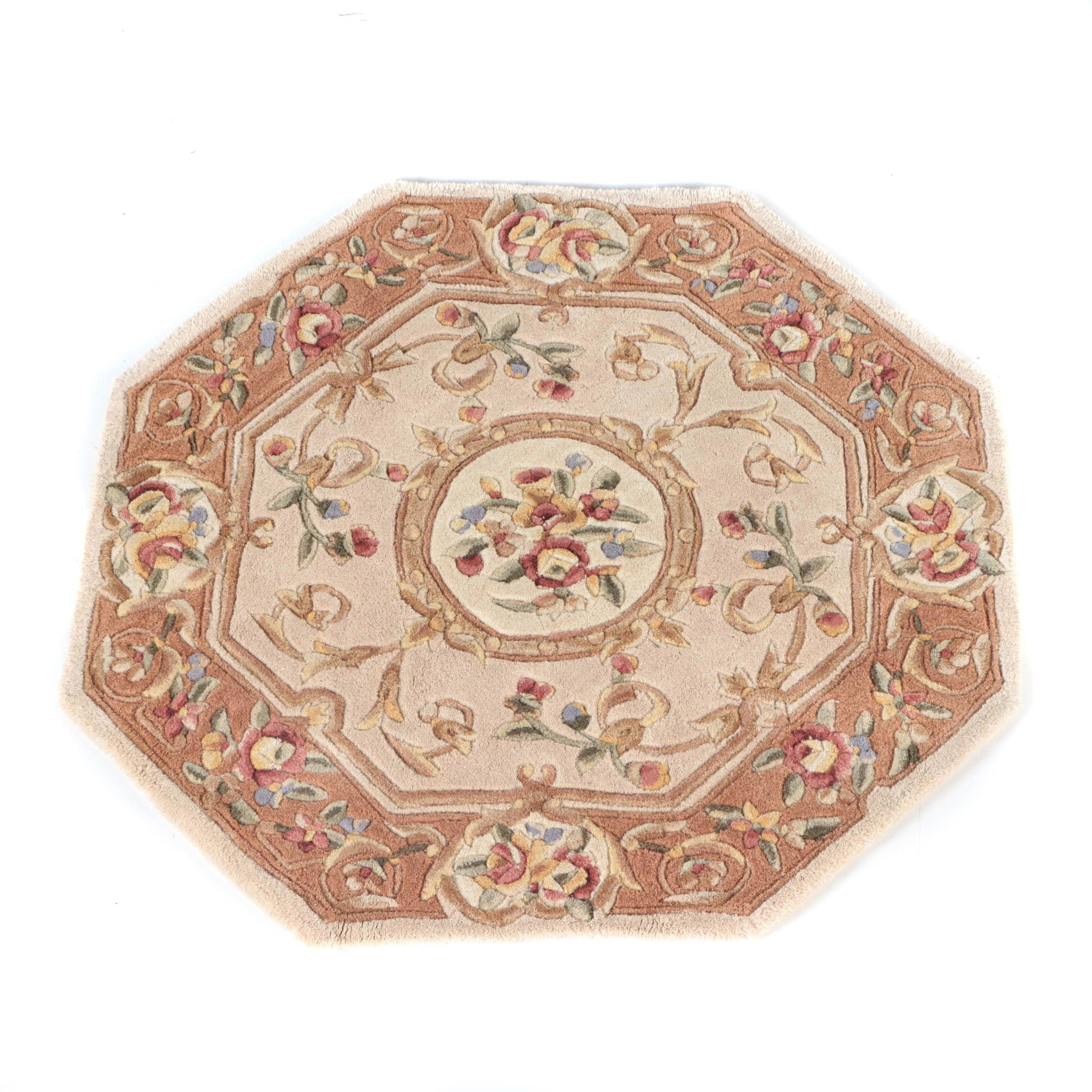 Hand Tufted Chinese Carved Wool Accent Rug