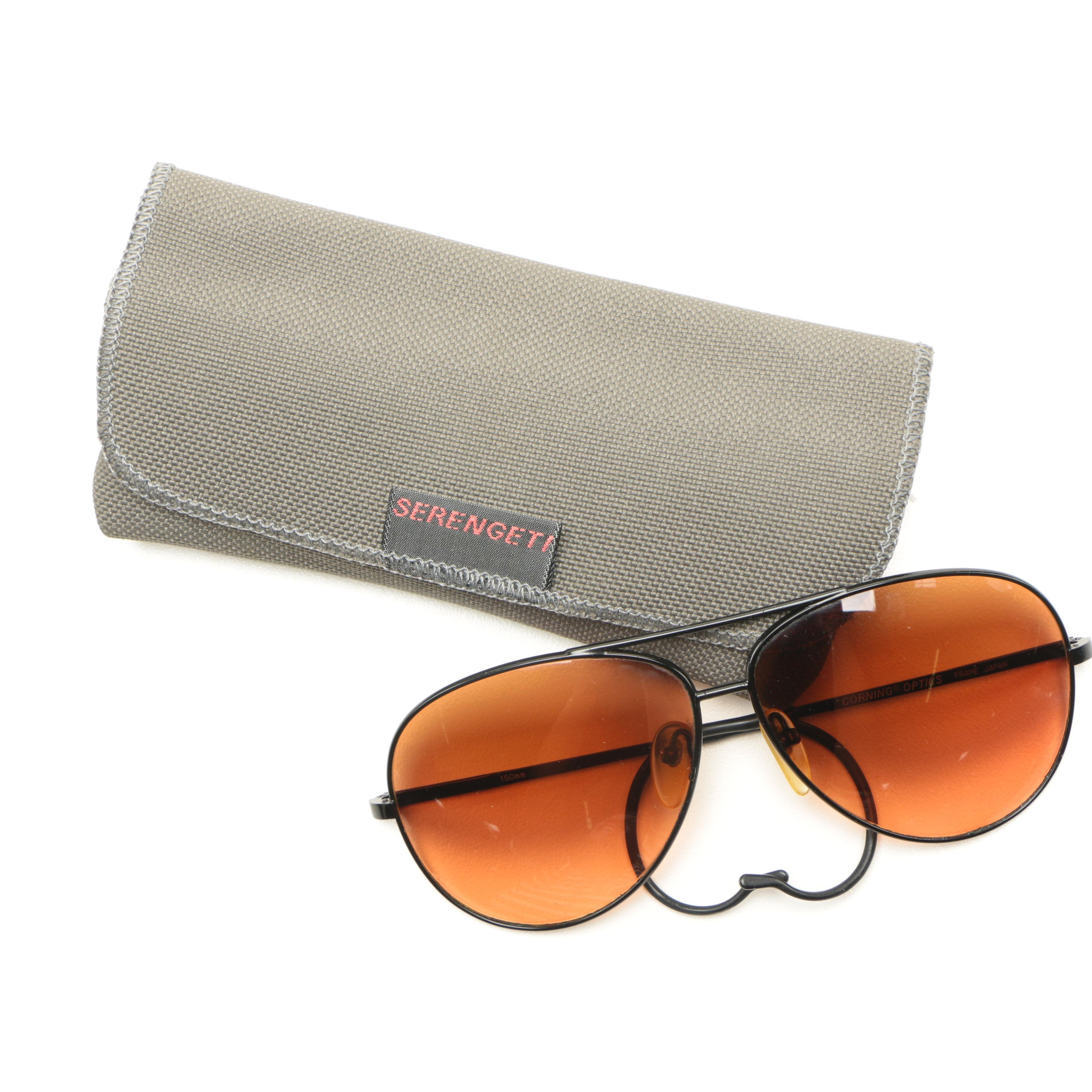 Aviator Sunglasses with Case Including Serengeti and Corning Optics
