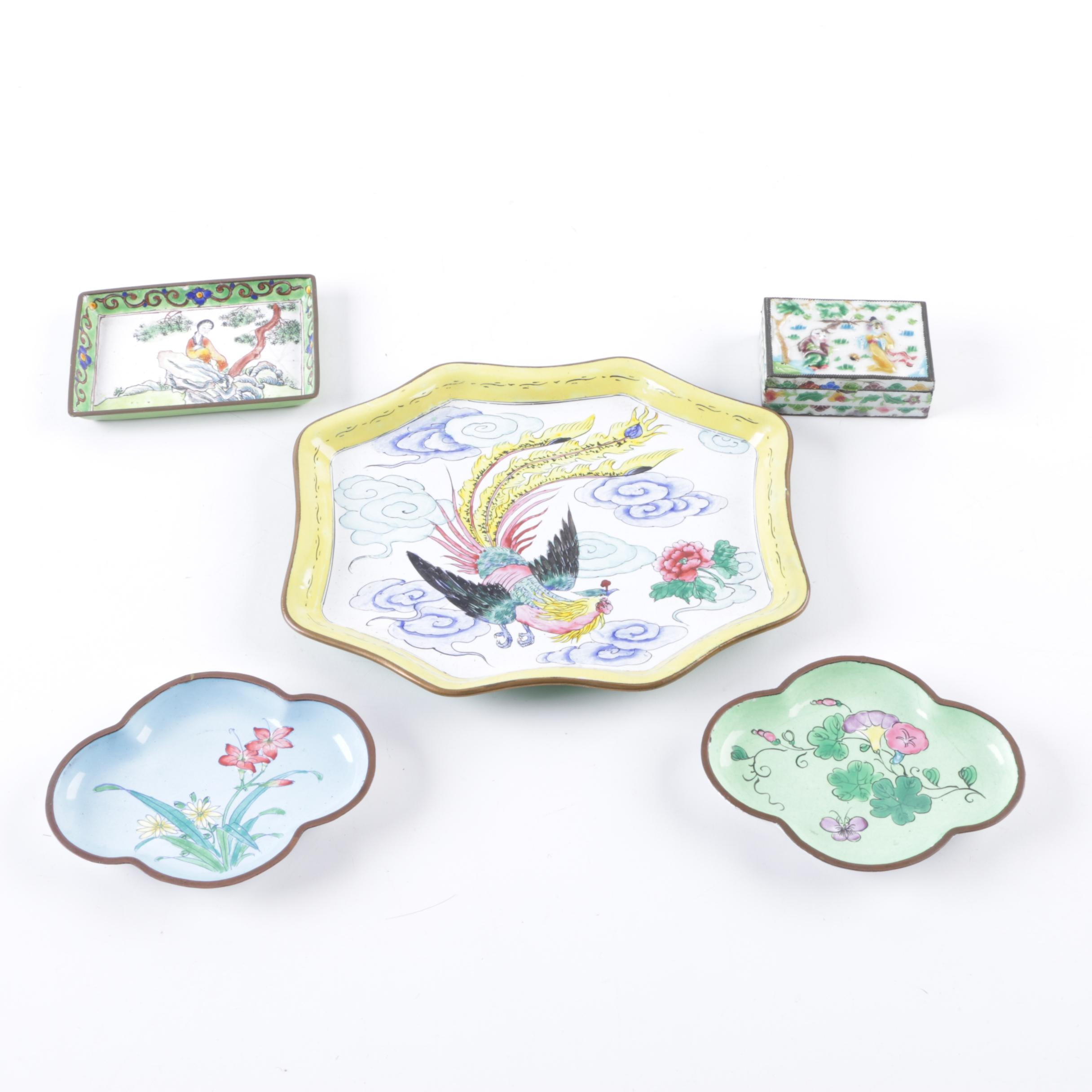 Collection of Hand Painted Chinese Enamel Pieces