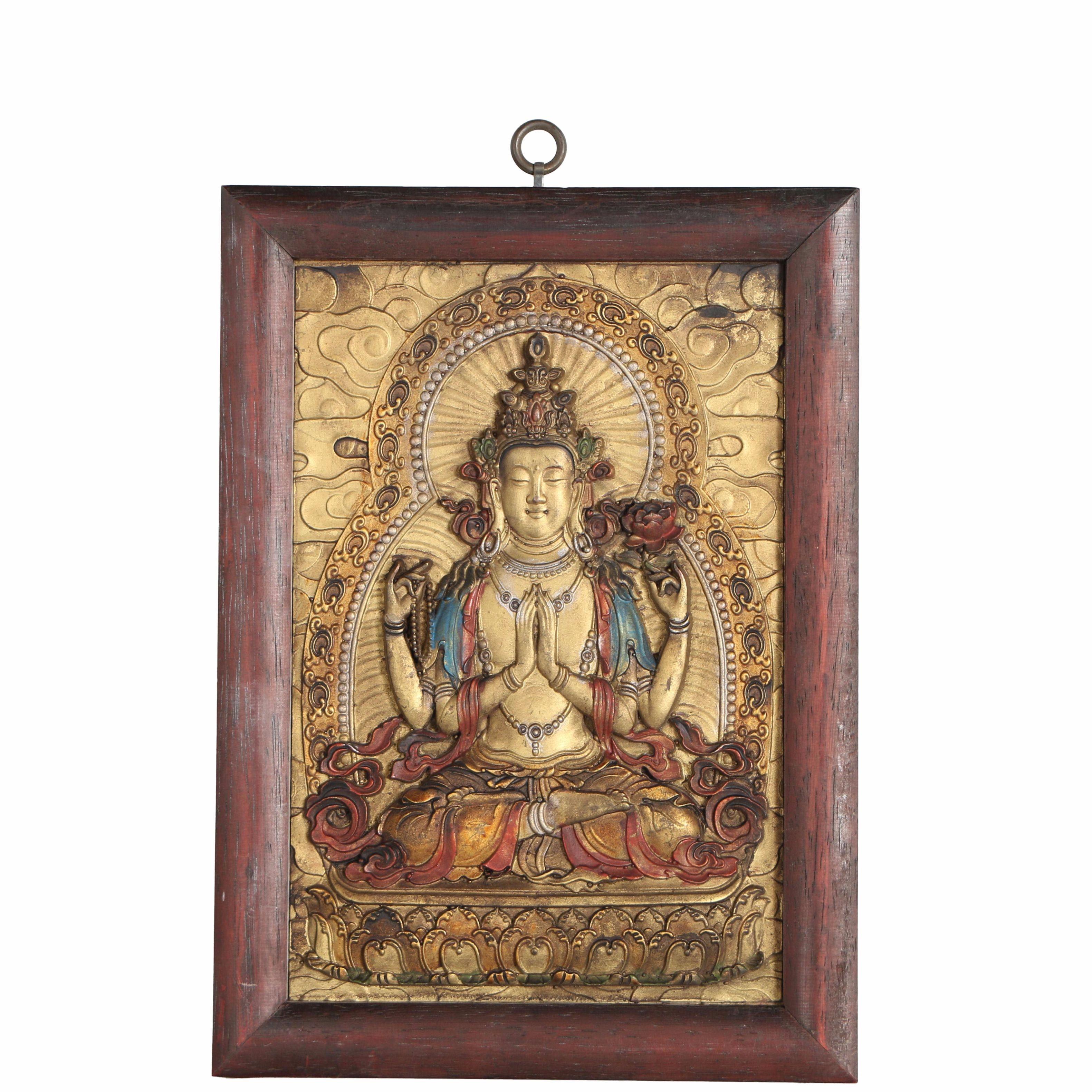 Painted Metal Sculptural Relief of Avalokiteshvara