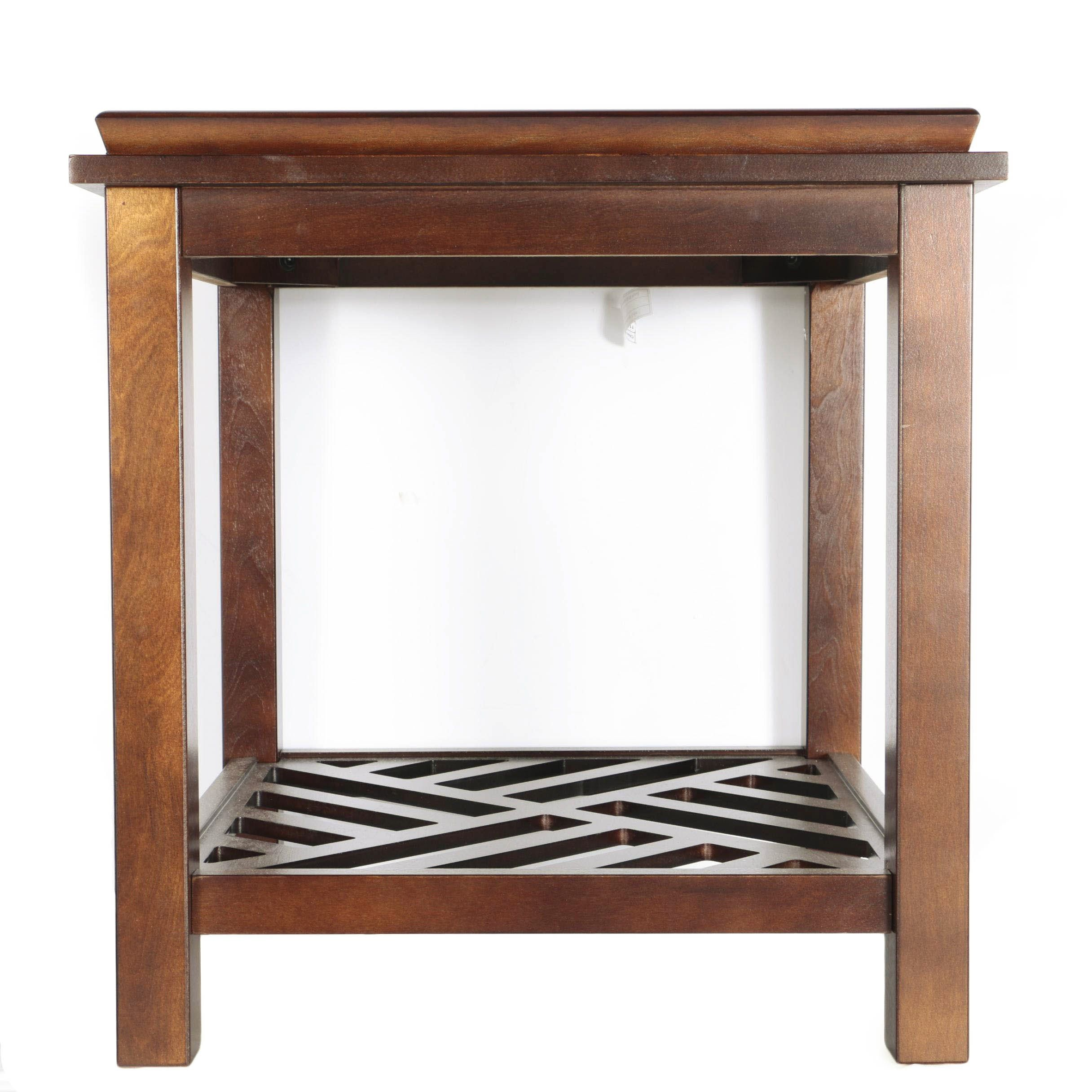 Chinese Glass Top Side Table by Chin-Shu Wooden Ltd.
