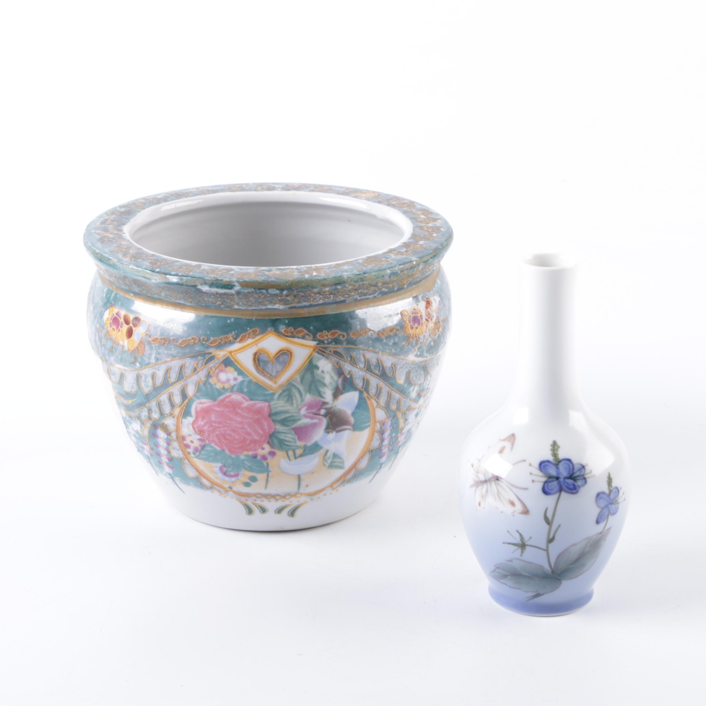 Royal Copenhagen Vase and a Chinese Style Planter