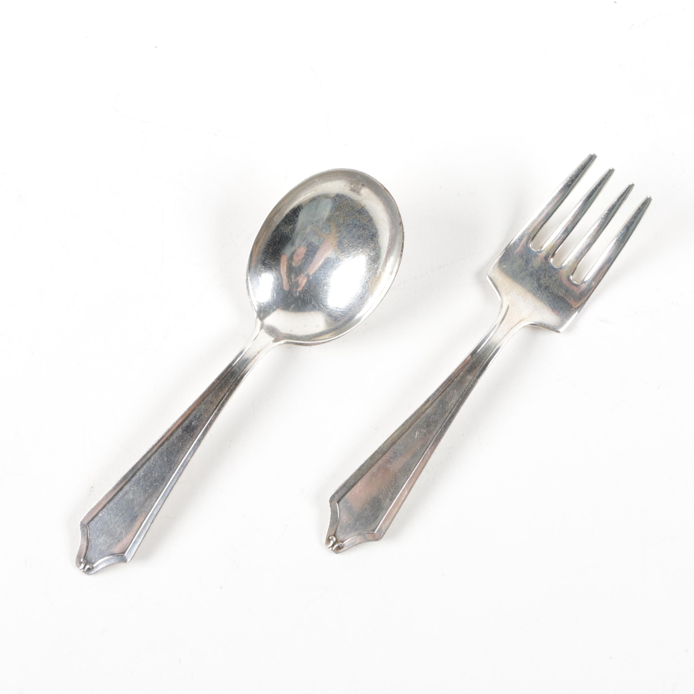 "International Silver ""Minuet"" Sterling Silver Baby Fork and Spoon"