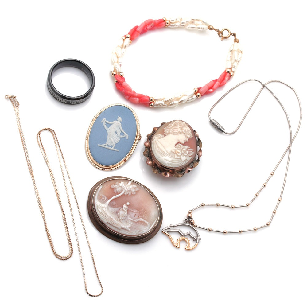 Silver and Gold Tone Shell, Coral, and Pearl Jewelry