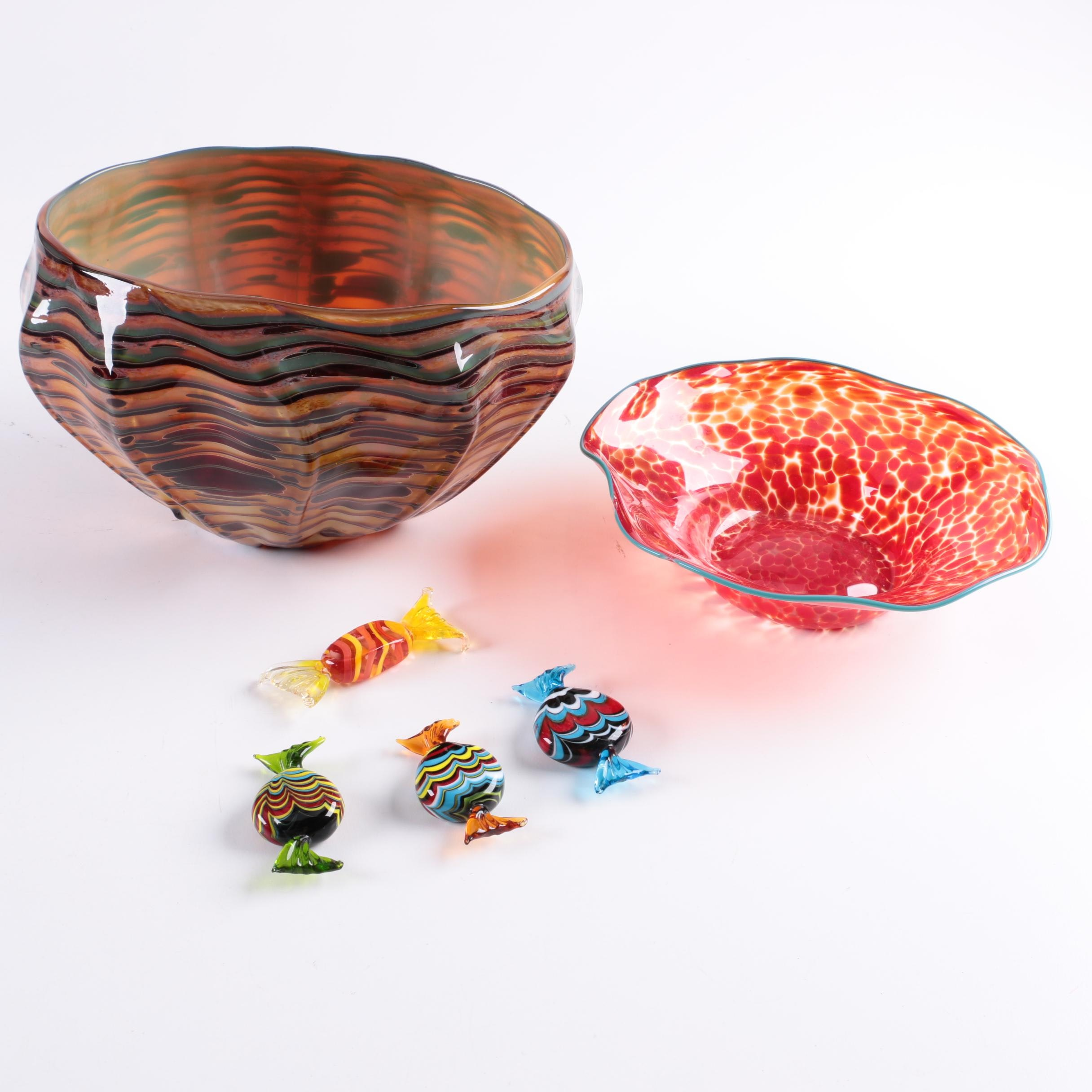 Blown Glass Bowls and Murano Glass Wrapped Candies