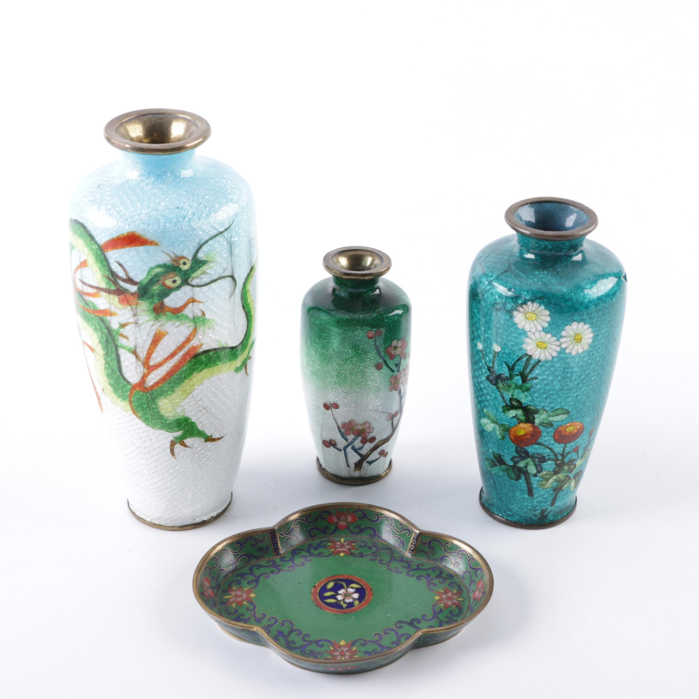 Chinese Cloisonné Vases ad Dish