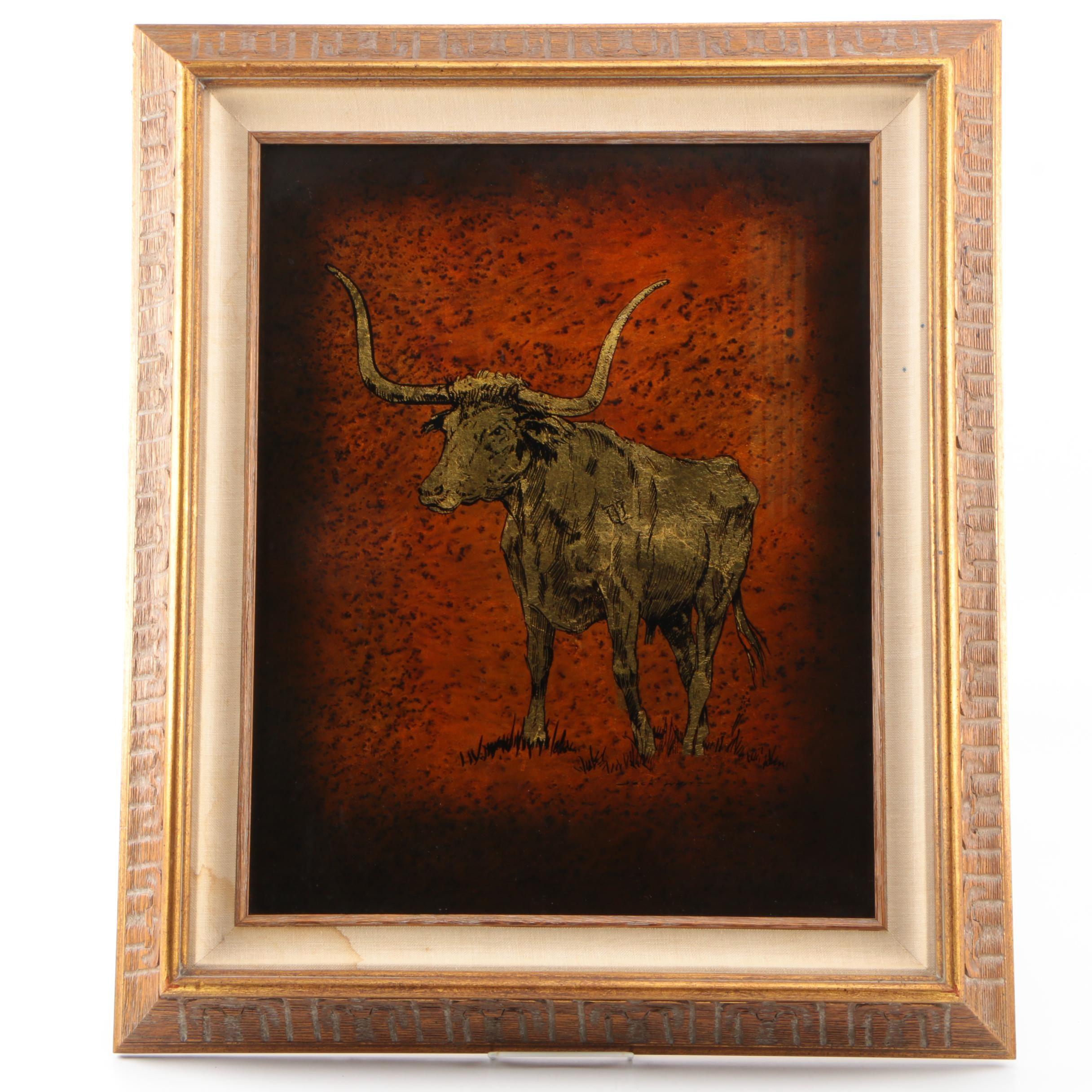 Serigraph on Glass of Longhorn Bull