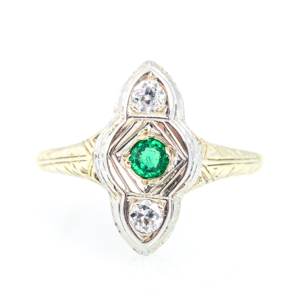 14K White and Yellow Gold Synthetic Emerald and Diamond  Art Deco Style Ring