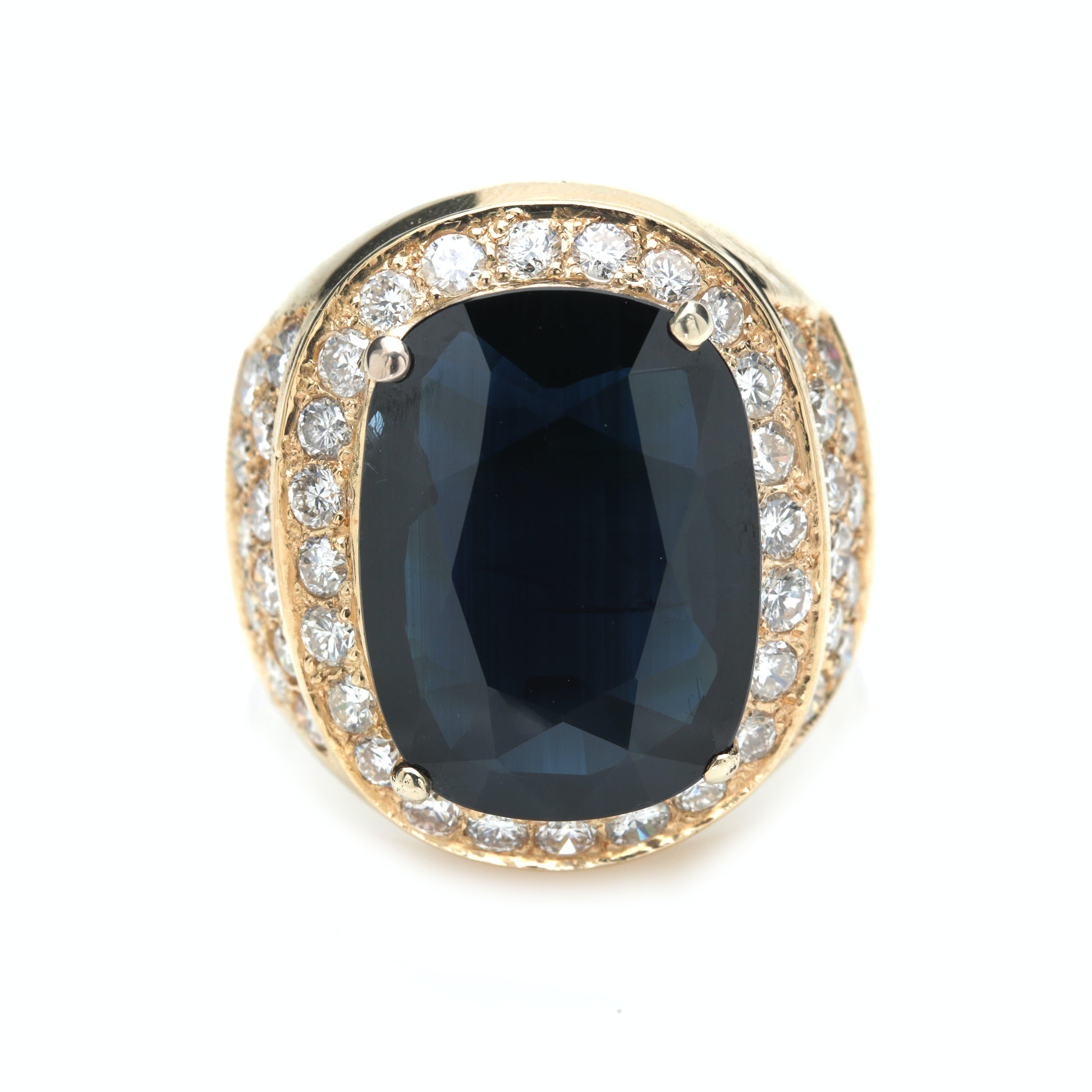 18K Yellow Gold 8.79 CT Blue Sapphire and 2.07 CTW Diamond Ring