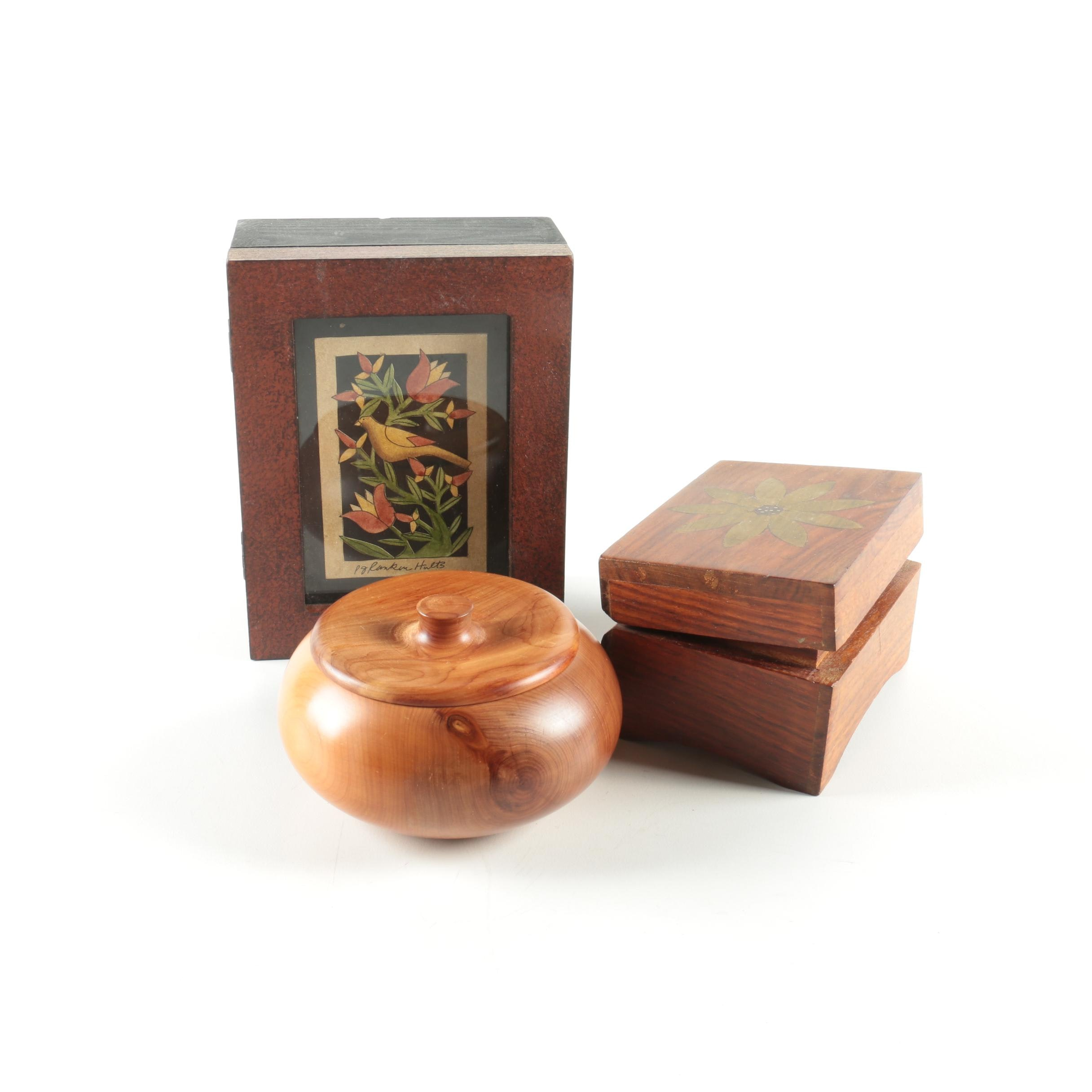 Wood Trinket Boxes and Music Box