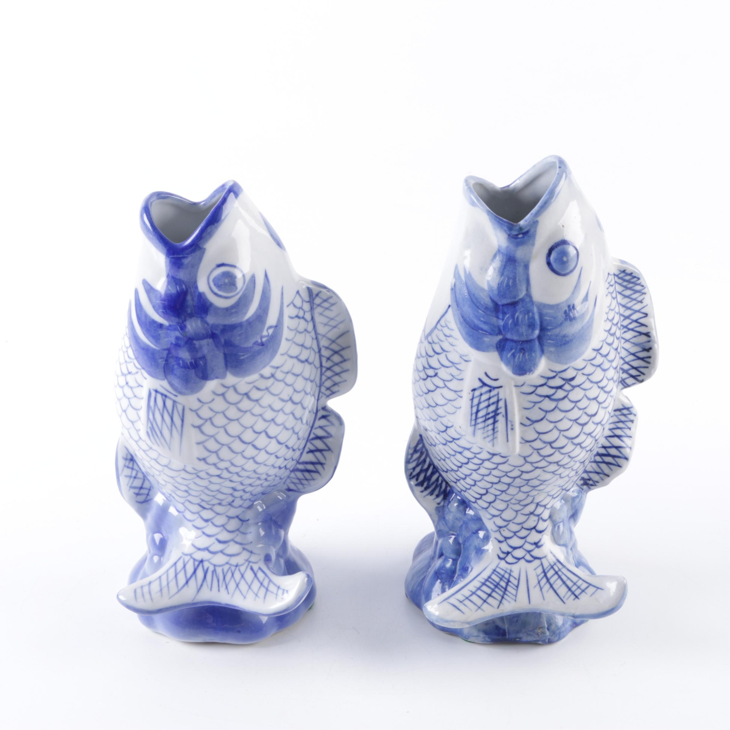 A Pair of Asian Inspired Fish Vases