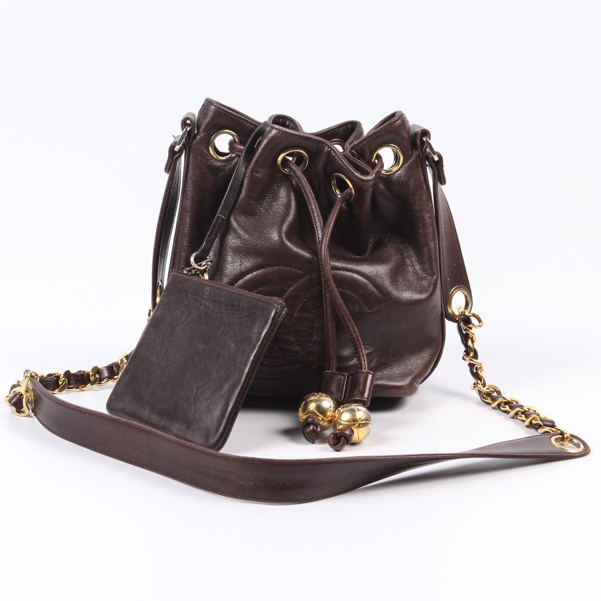 Chanel Logo Brown Leather Drawstring Bucket Bag