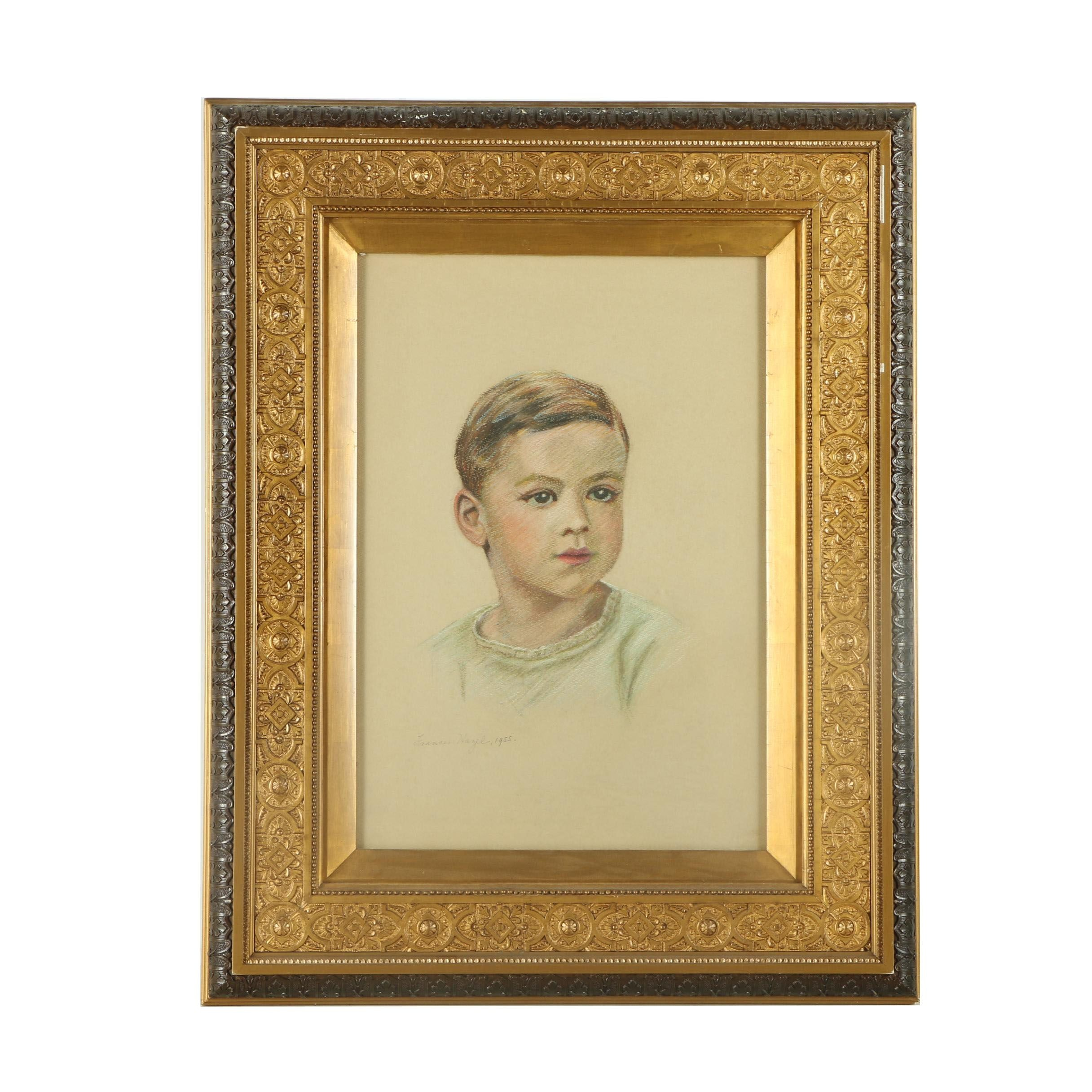 1955 Frances Hazel Pastel Portrait of Frederick Hennie