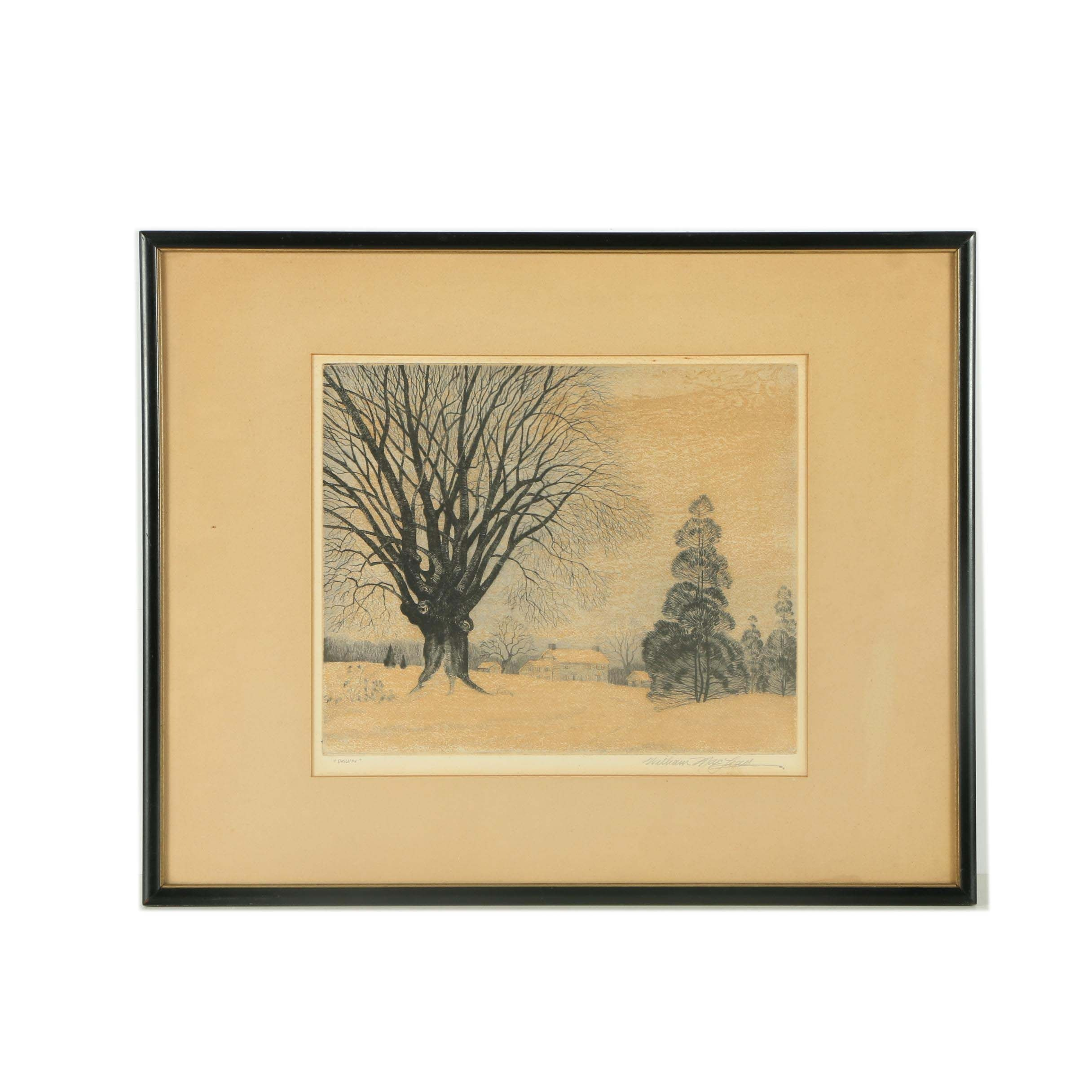 "William MacLean Limited Edition Etching on Paper ""Dawn"""