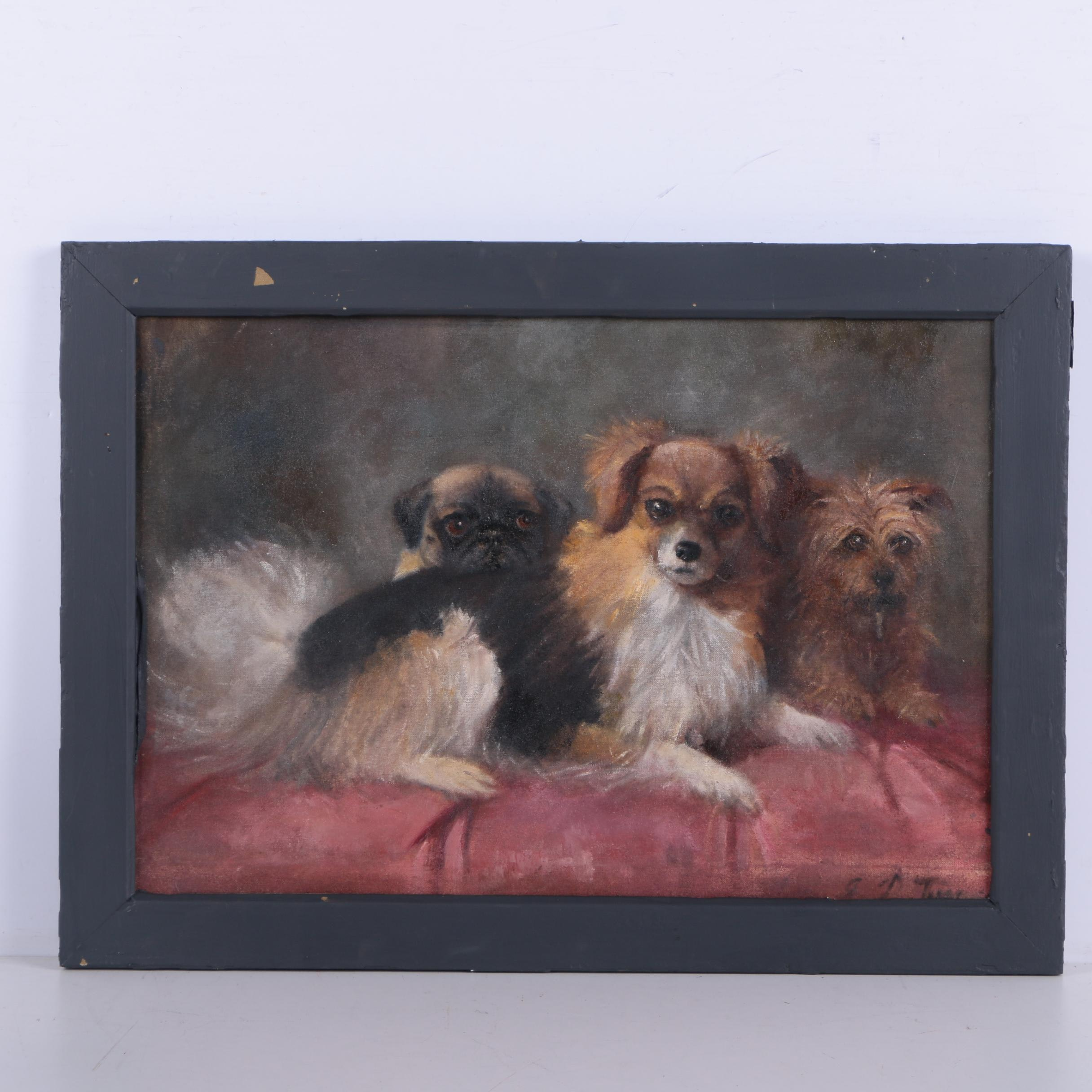 "Oil Painting on Canvas Board ""The Pets"""