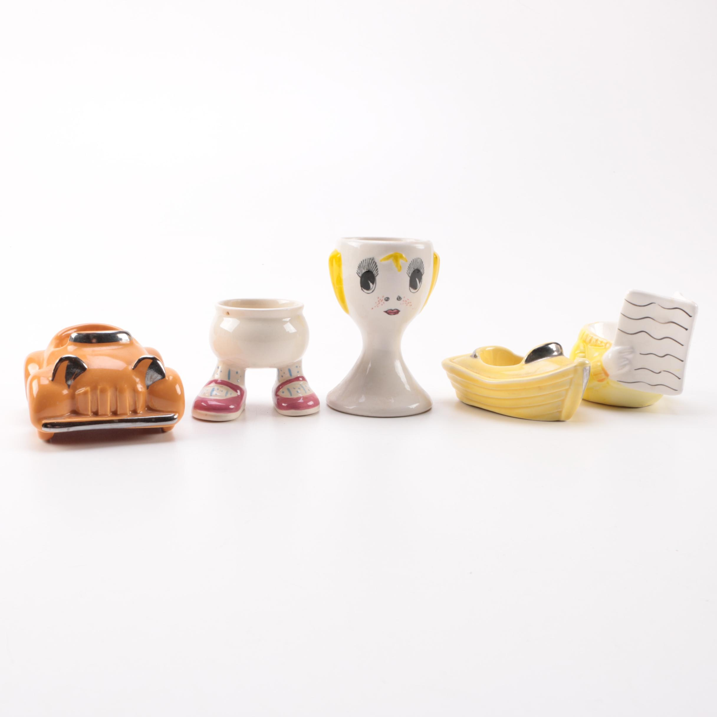 Whimsical Ceramic Egg Cup Collection