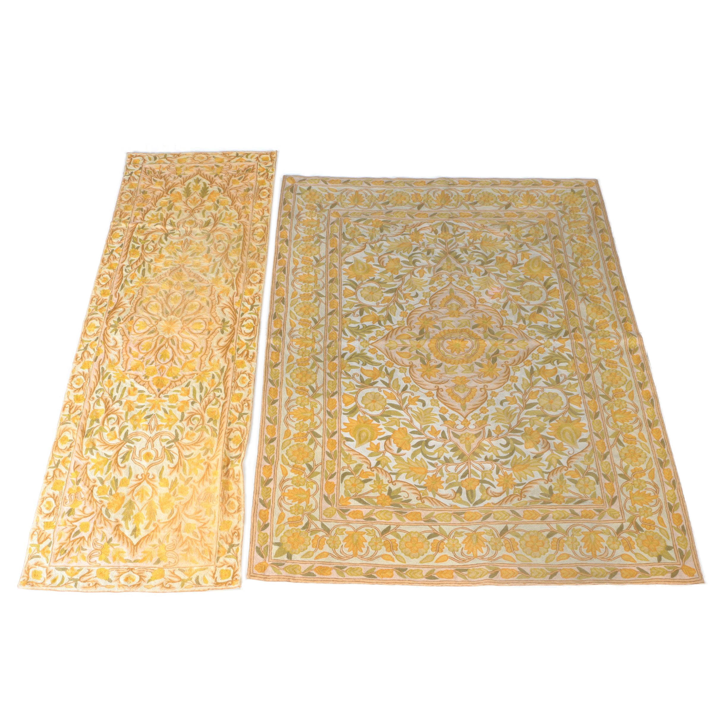 Hand-Embroidered Crewel Work Area Rug and Runner