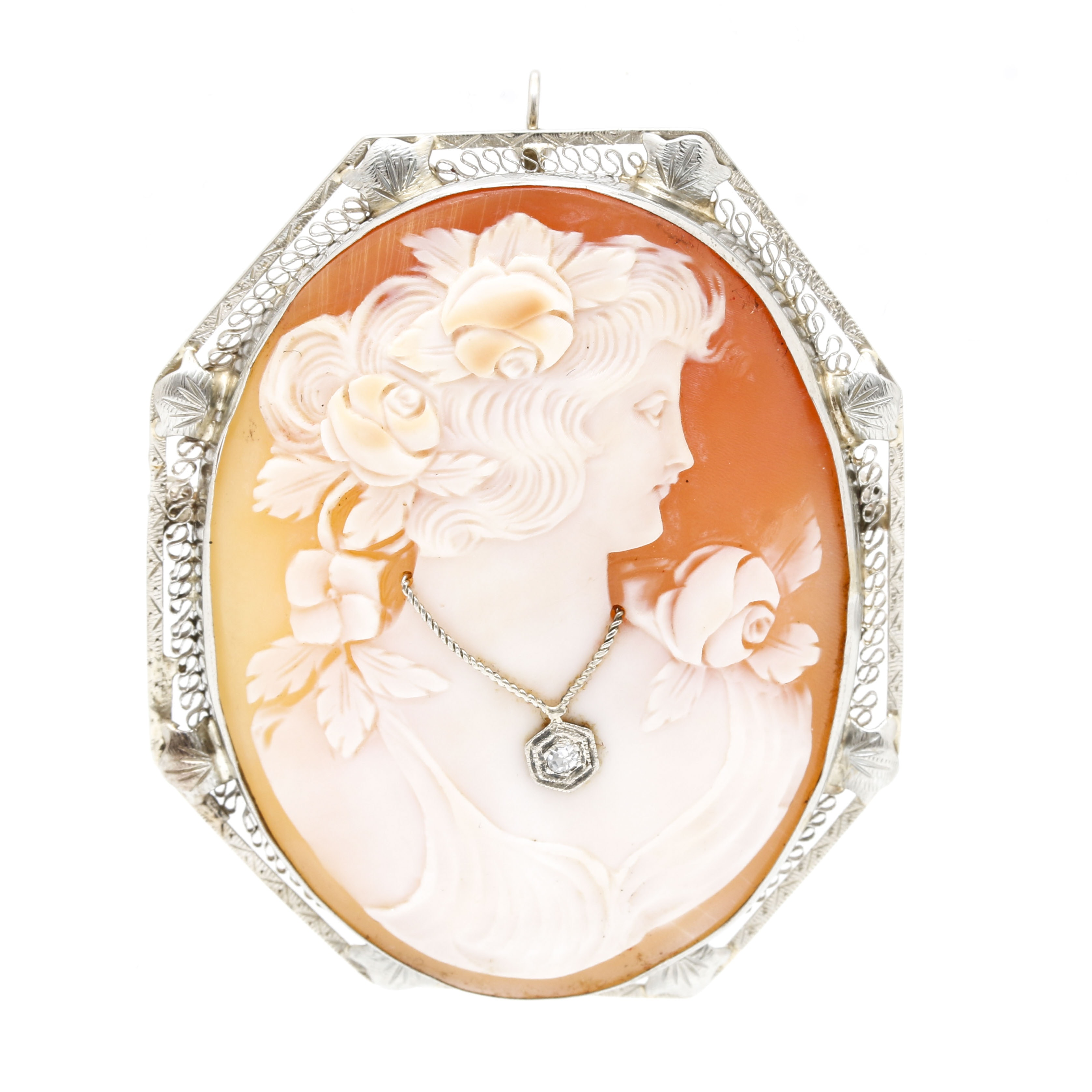 14K White Gold Diamond Cameo Habille Helmet Shell Converter Brooch