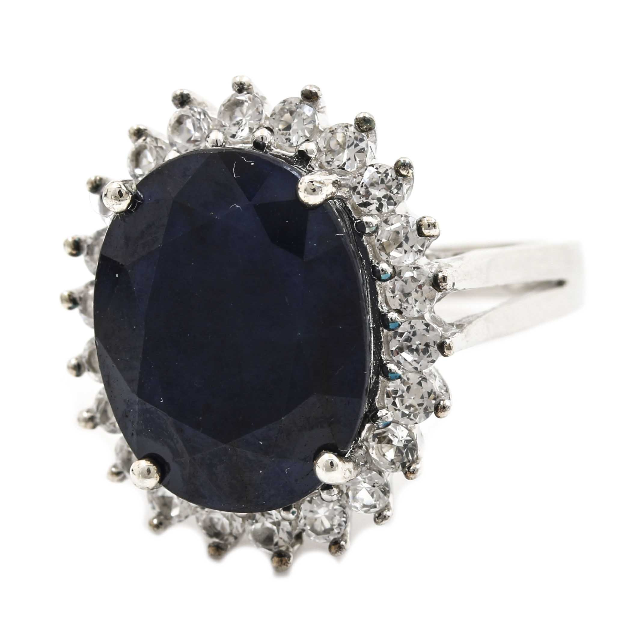 Sterling Silver 12.08 CT Sapphire Ring