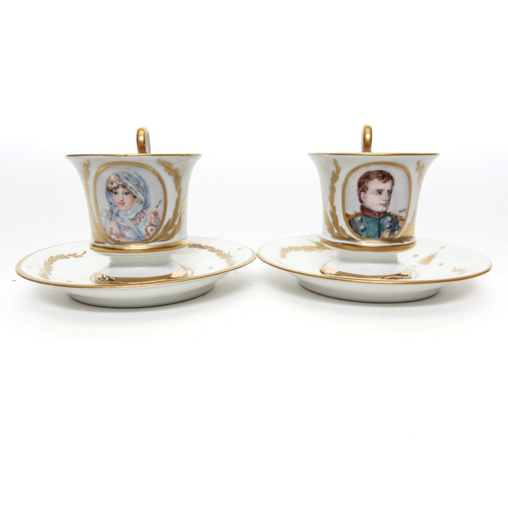 Hand-Painted Demitasse Depicting Napoleon and Marie Louise