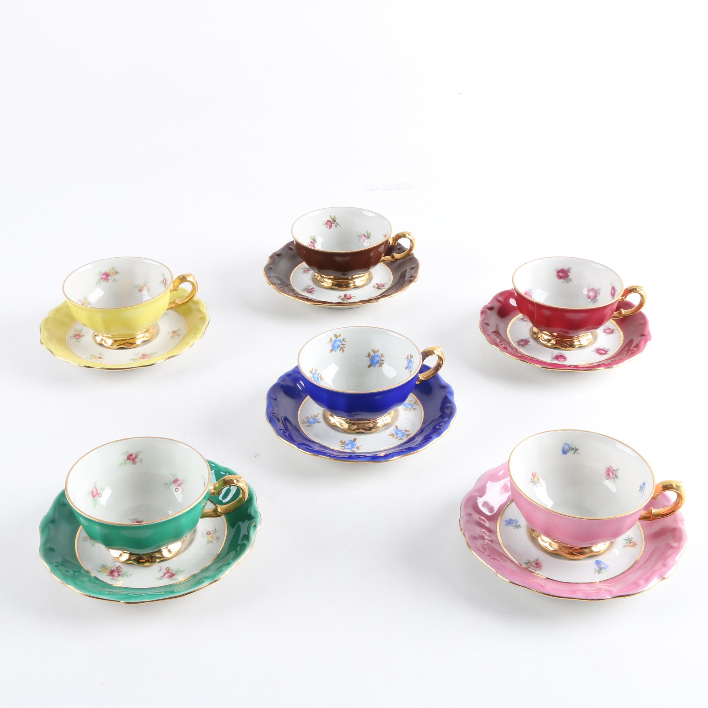 Vintage Bareuther Porcelain Teacups and Saucers