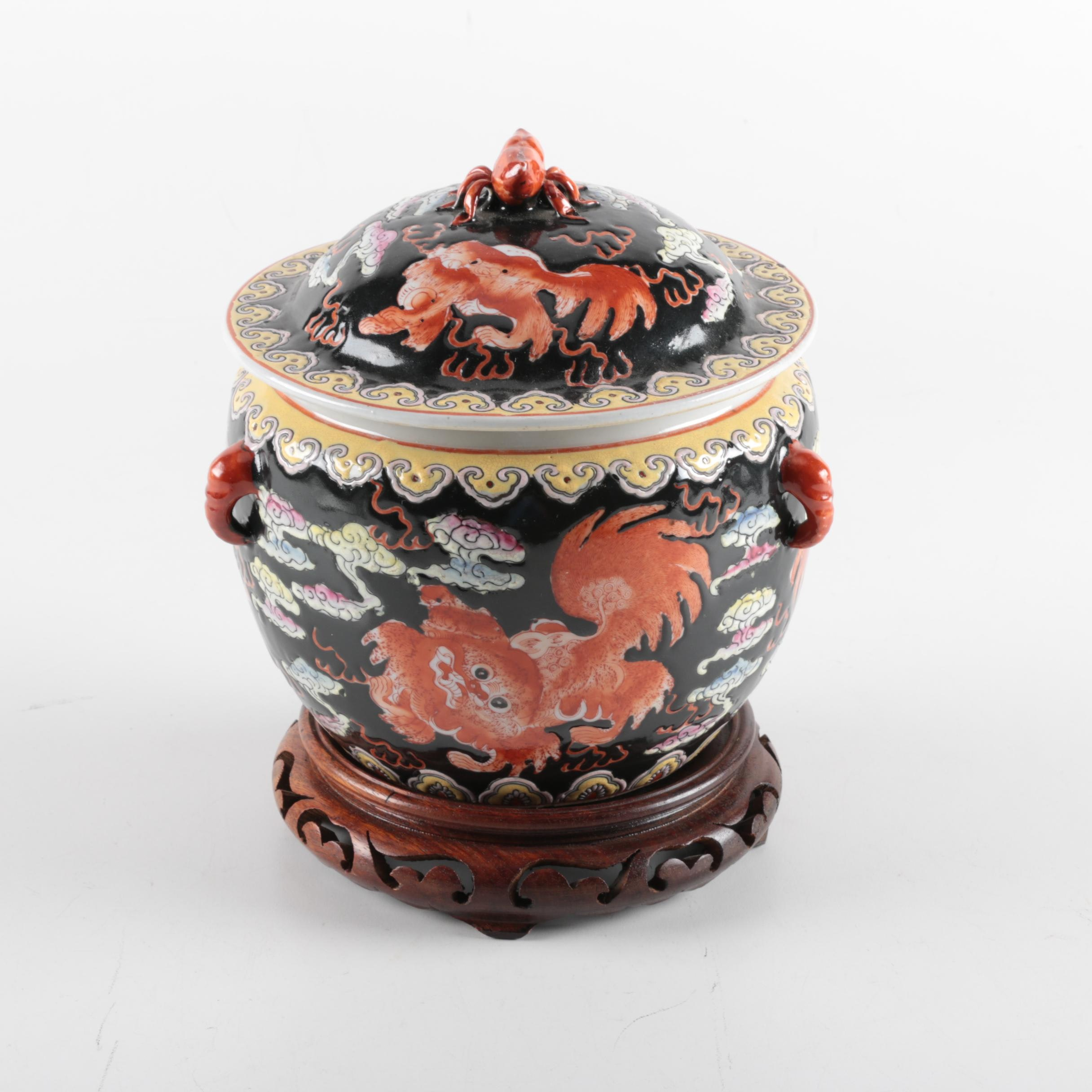 Asian Inspired Lidded Vessel and Stand