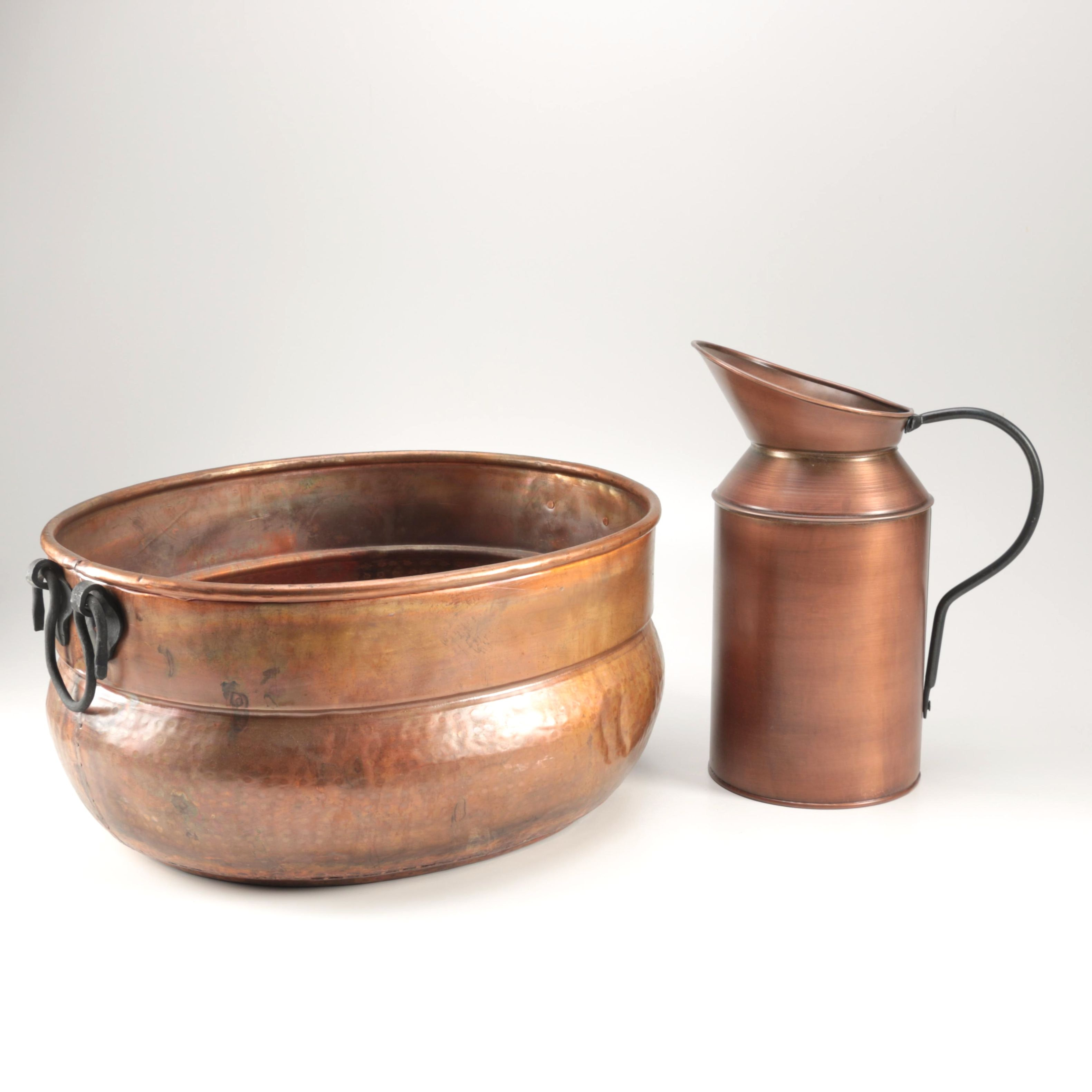 Hand Made Copper Pot and Pitcher