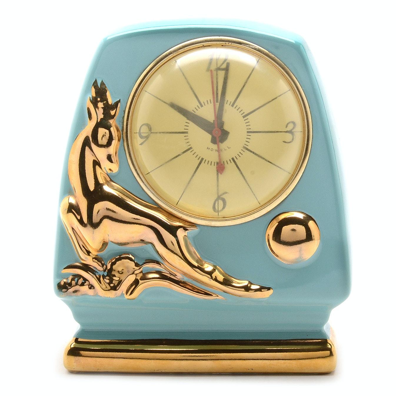 Art Deco Style Howell Ceramic Deer Clock