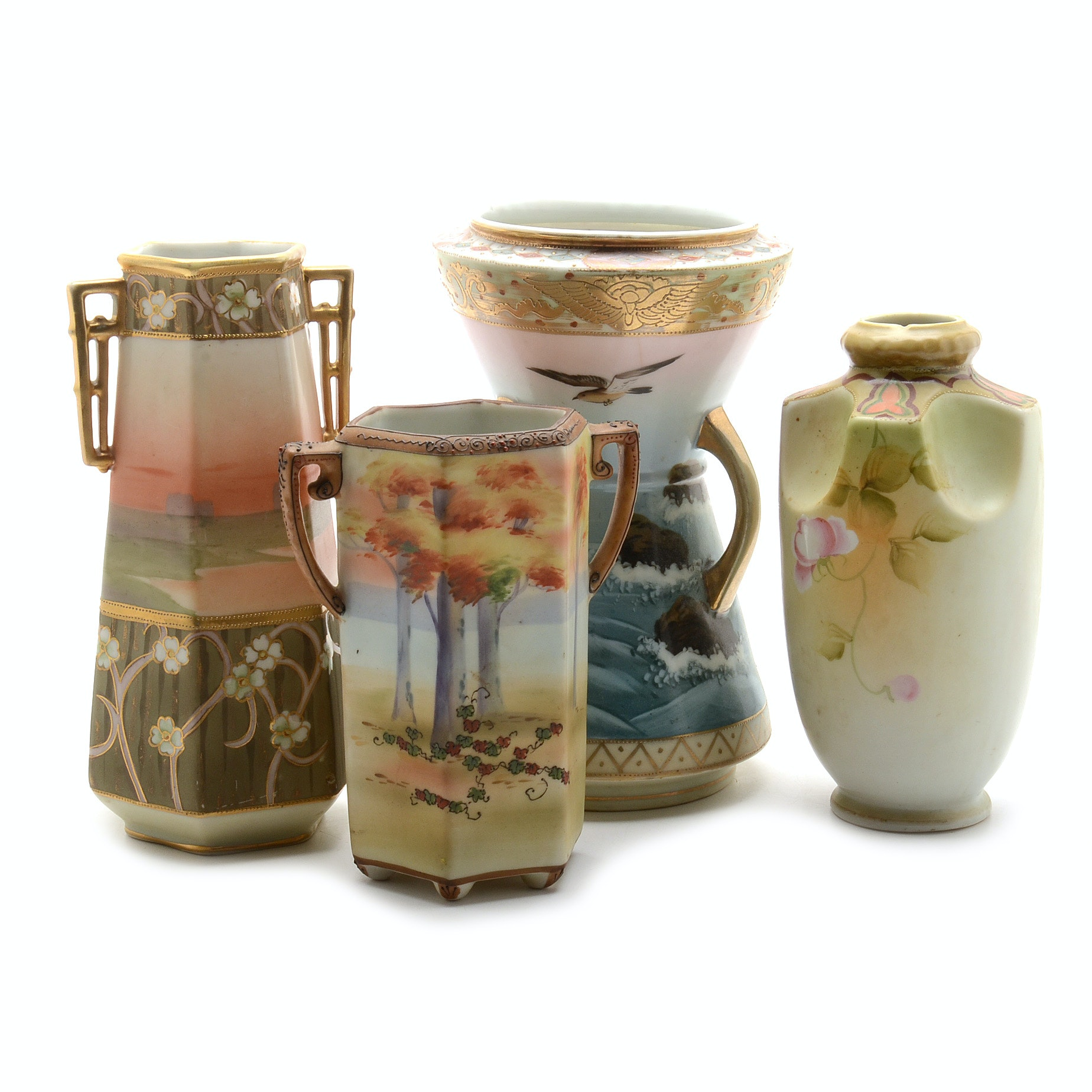 Group of Hand-Painted Nippon Vases