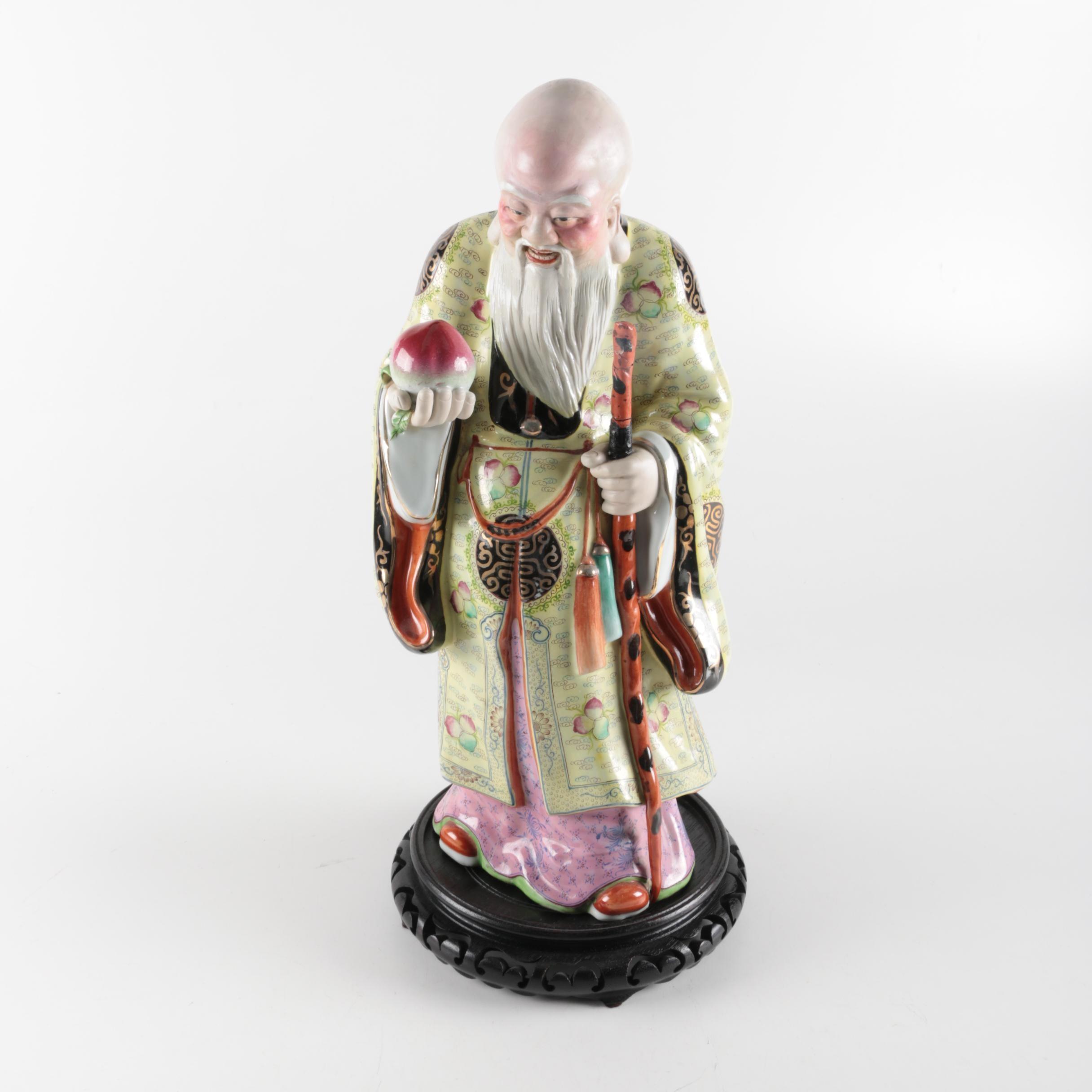 Vintage Chinese Ceramic Figurine Immortal Shou Lao Xing