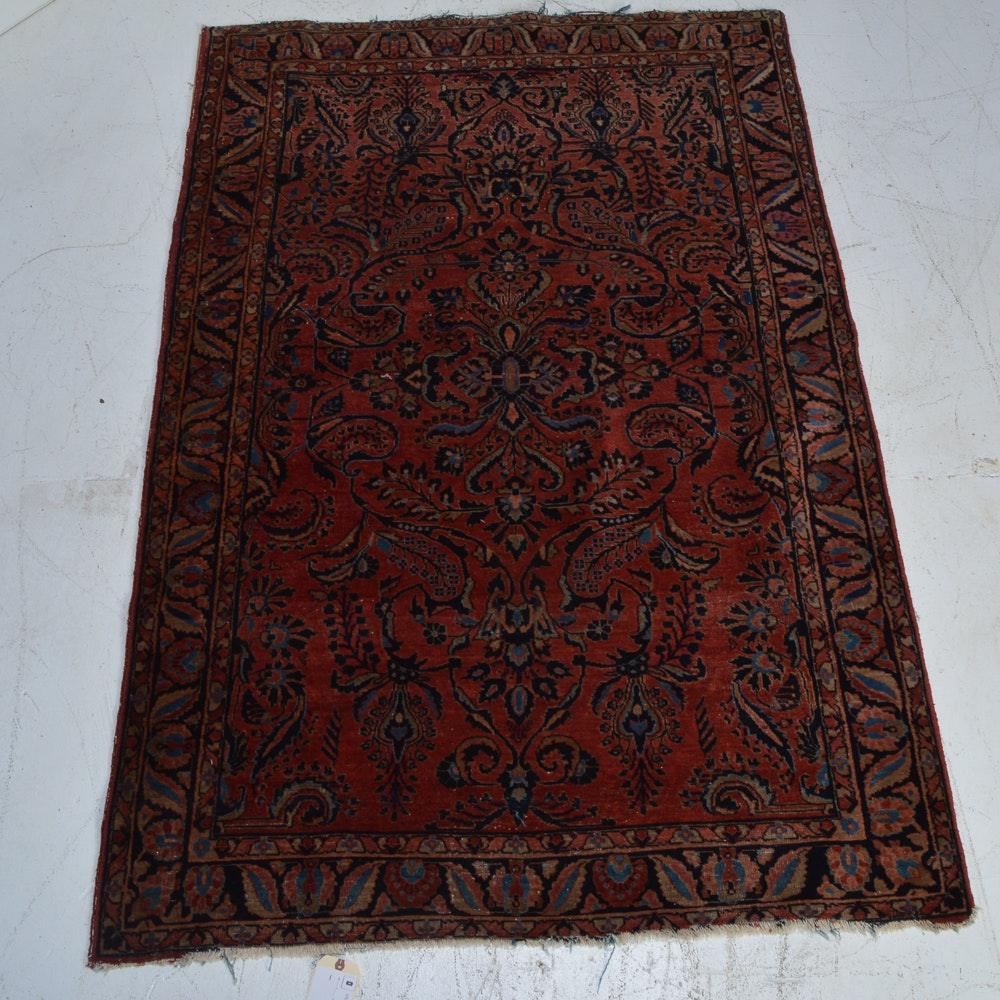 Antique Hand-Knotted Persian Sarouk Lilihan Area Rug
