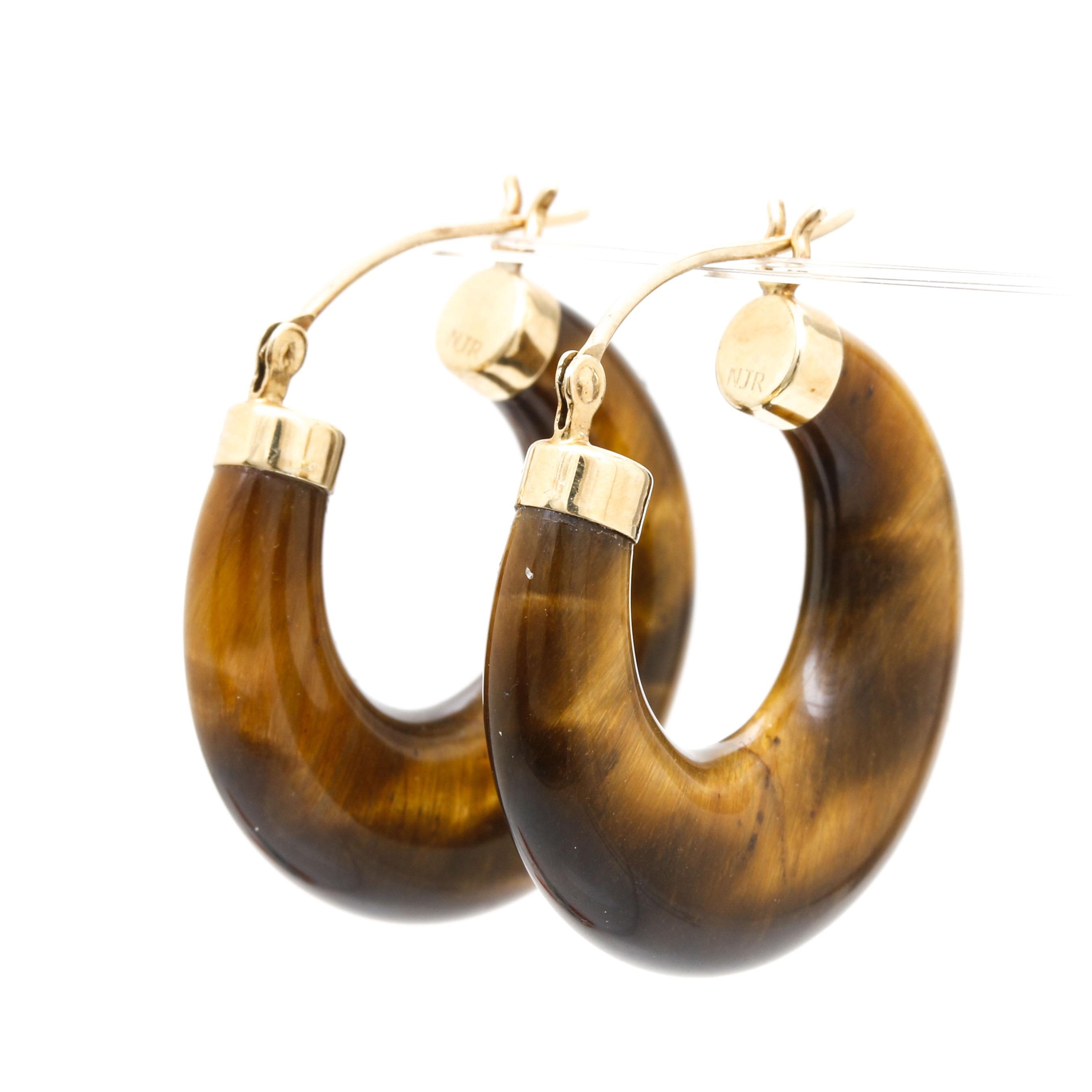14K Yellow Gold Tiger's Eye Hoop Earrings