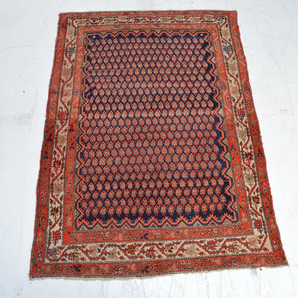 Hand-Knotted Persian Seraband Mir-a-Boteh Area Rug