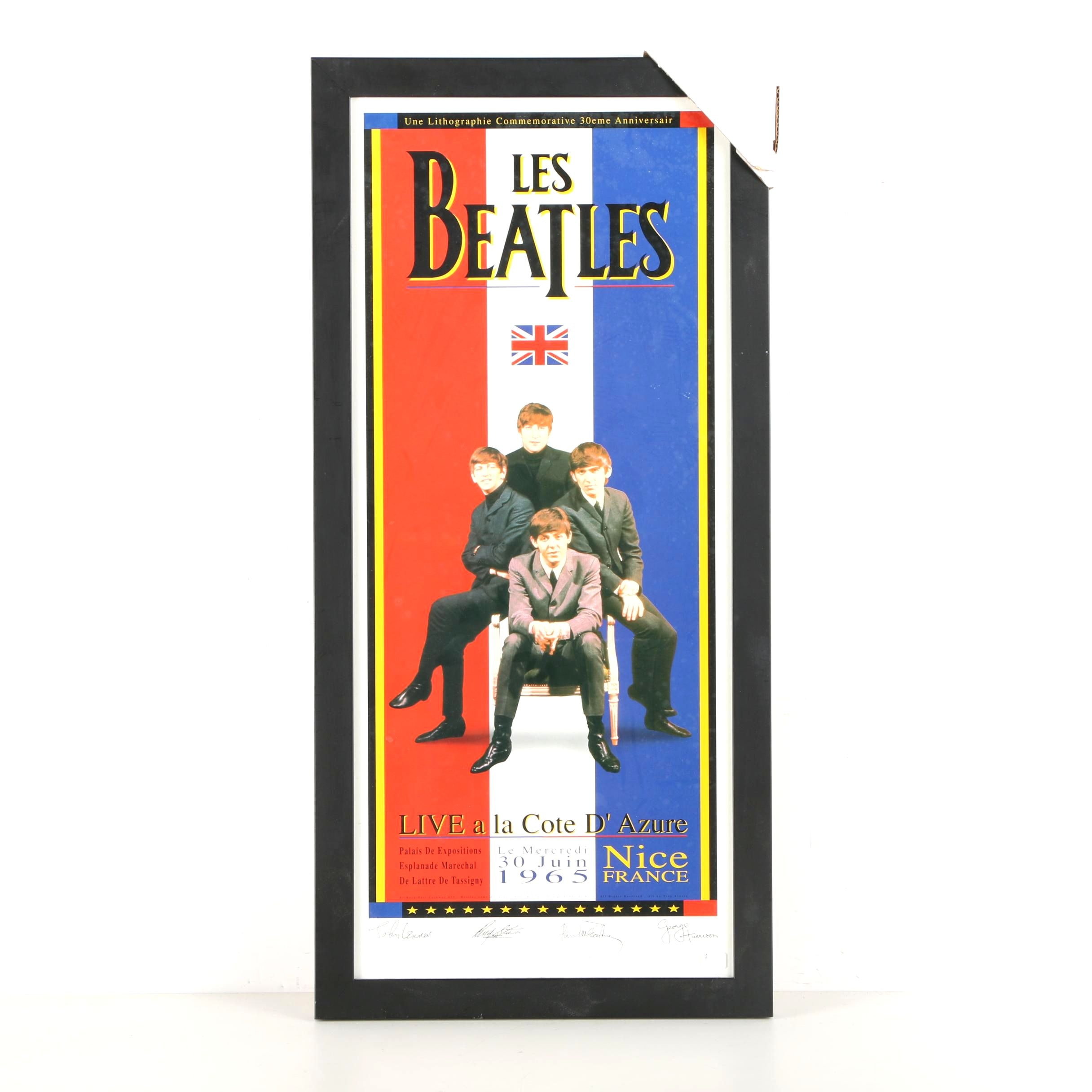 "1995 ArtRock Beatles 30th Anniversary ""Live a la Cote D'Azure"" Poster"