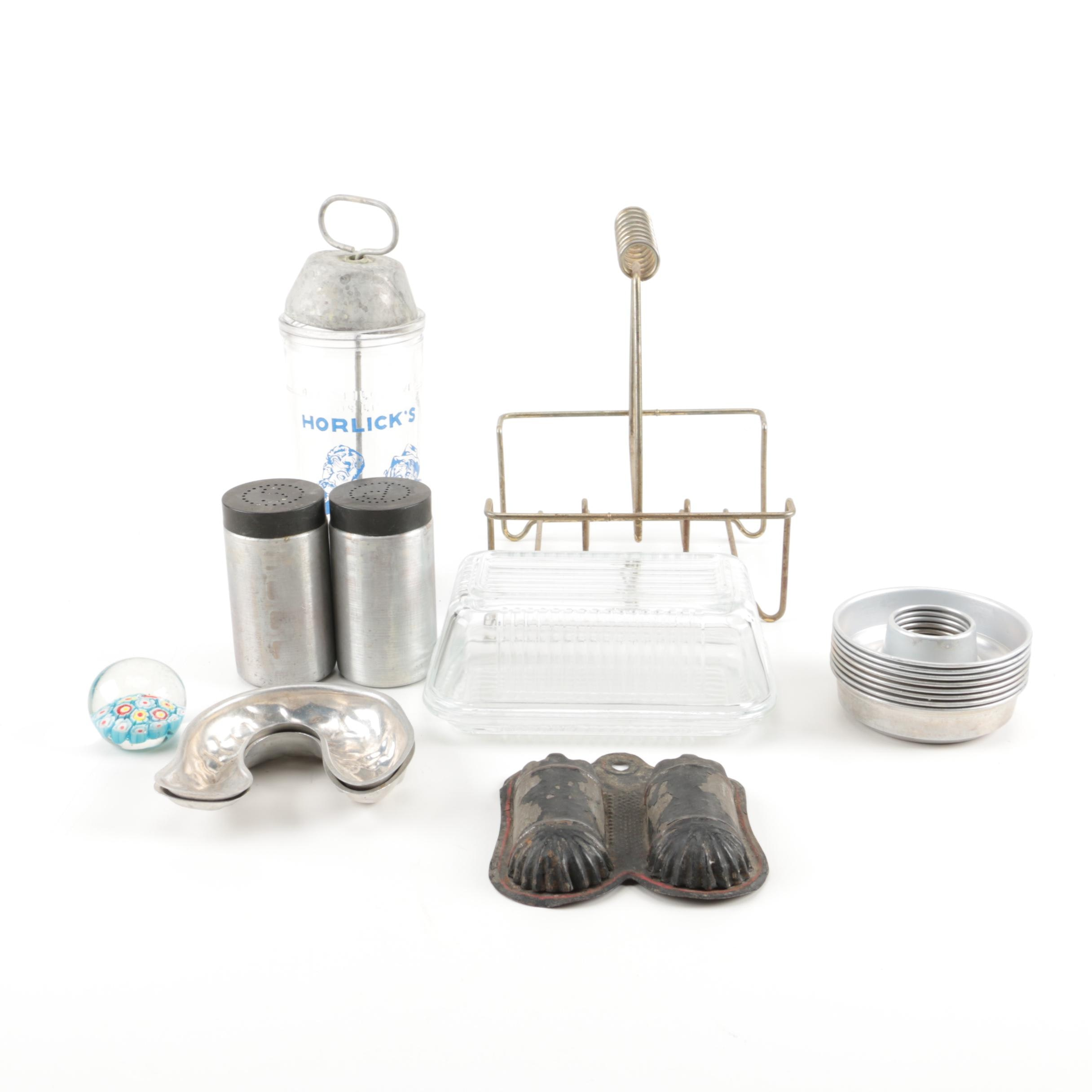 Assortment Of Kitchenware and Paper Weight