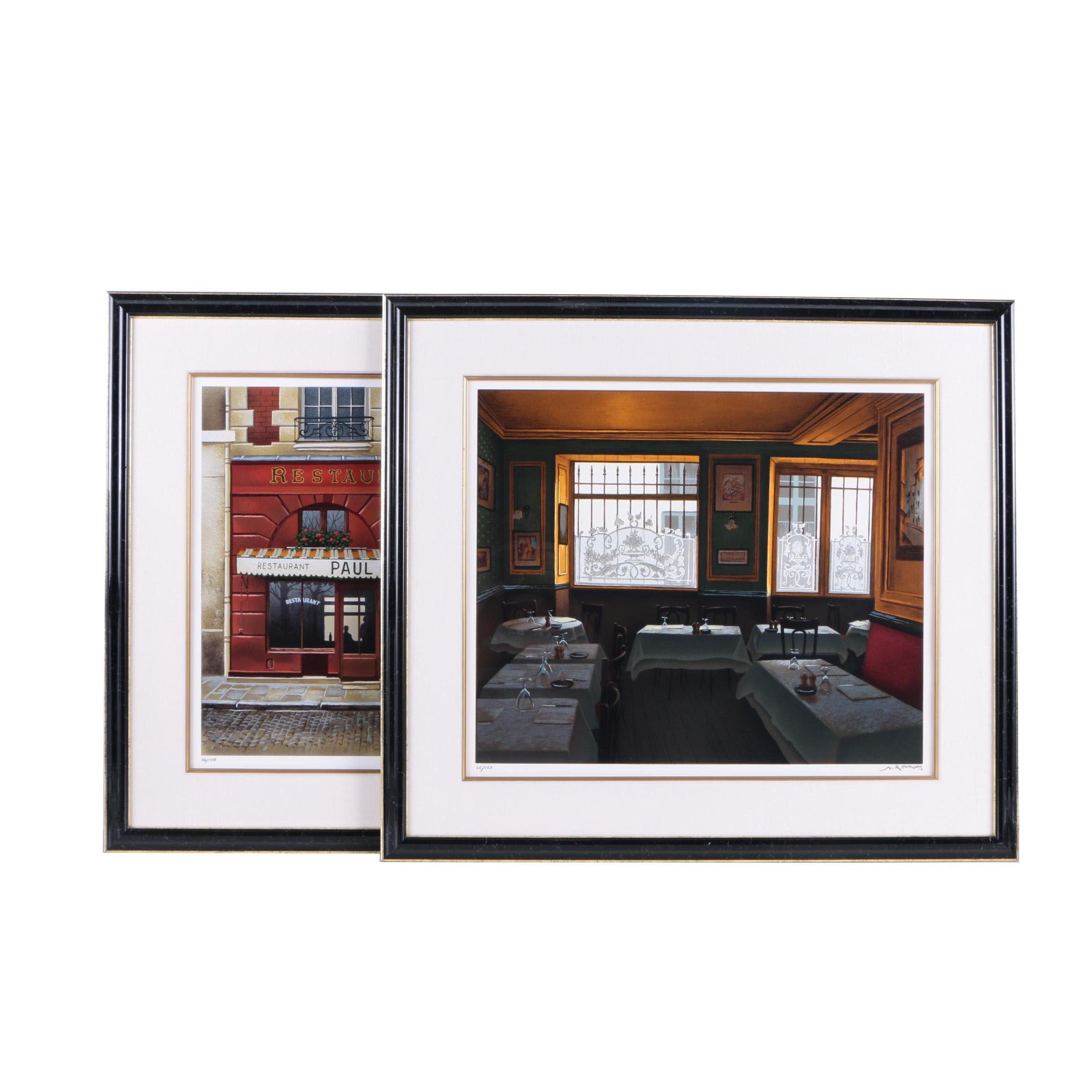 Andre Renoux Limited Edition Serigraph Prints of Restaurants
