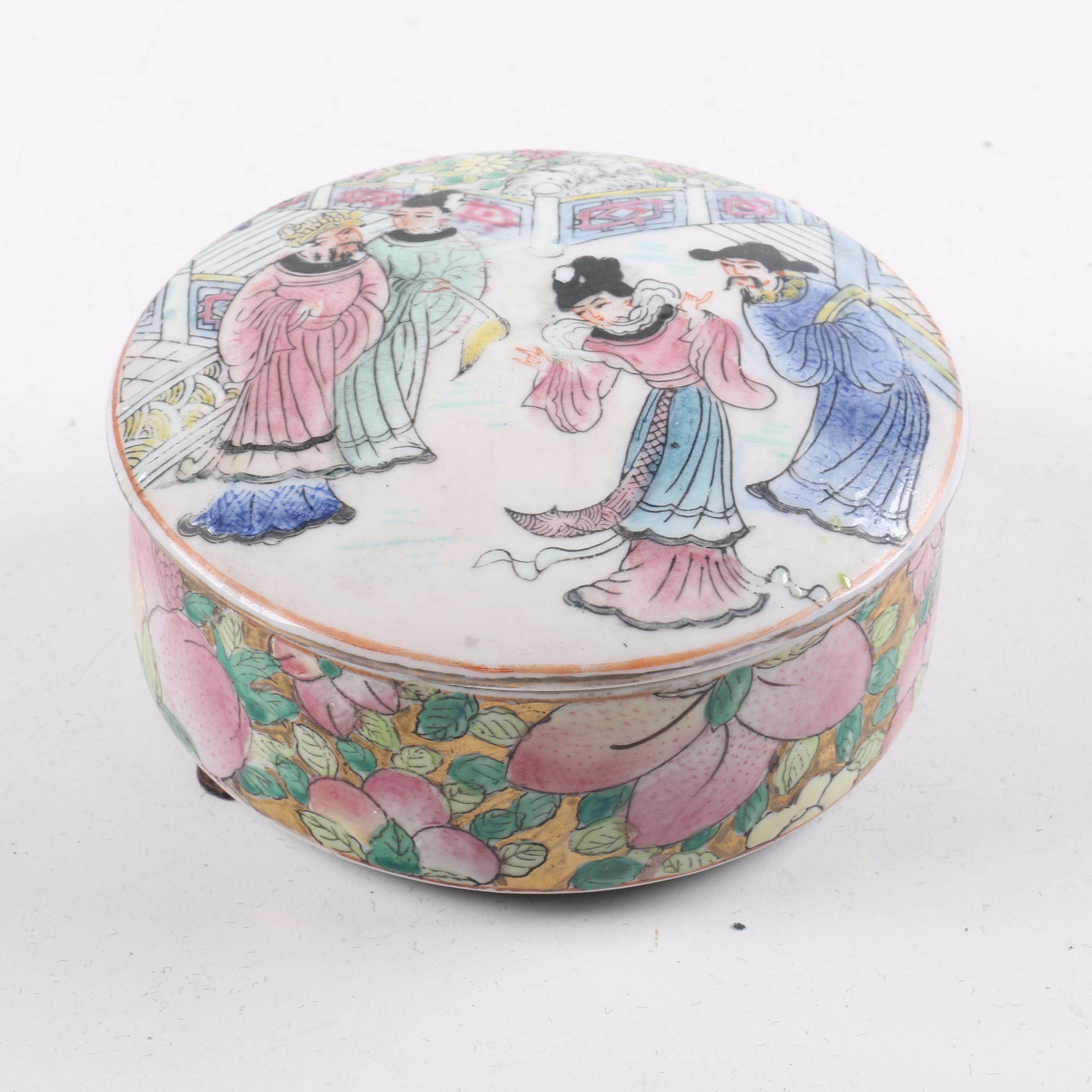 Chinese Porcelain Snuff Bottle and Trinket Box