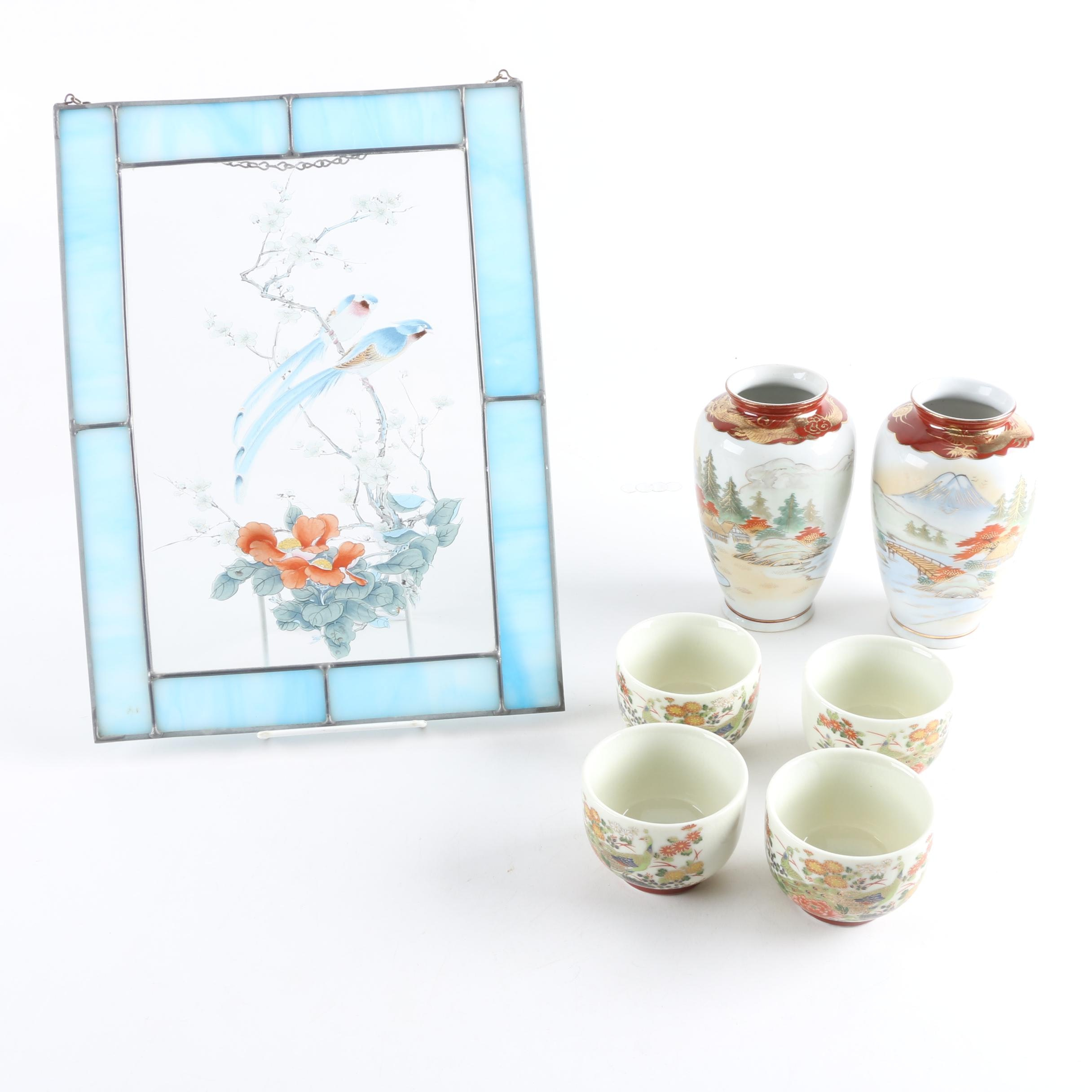 East Asian Household Décor Including Stained Glass Panel and Ceramics