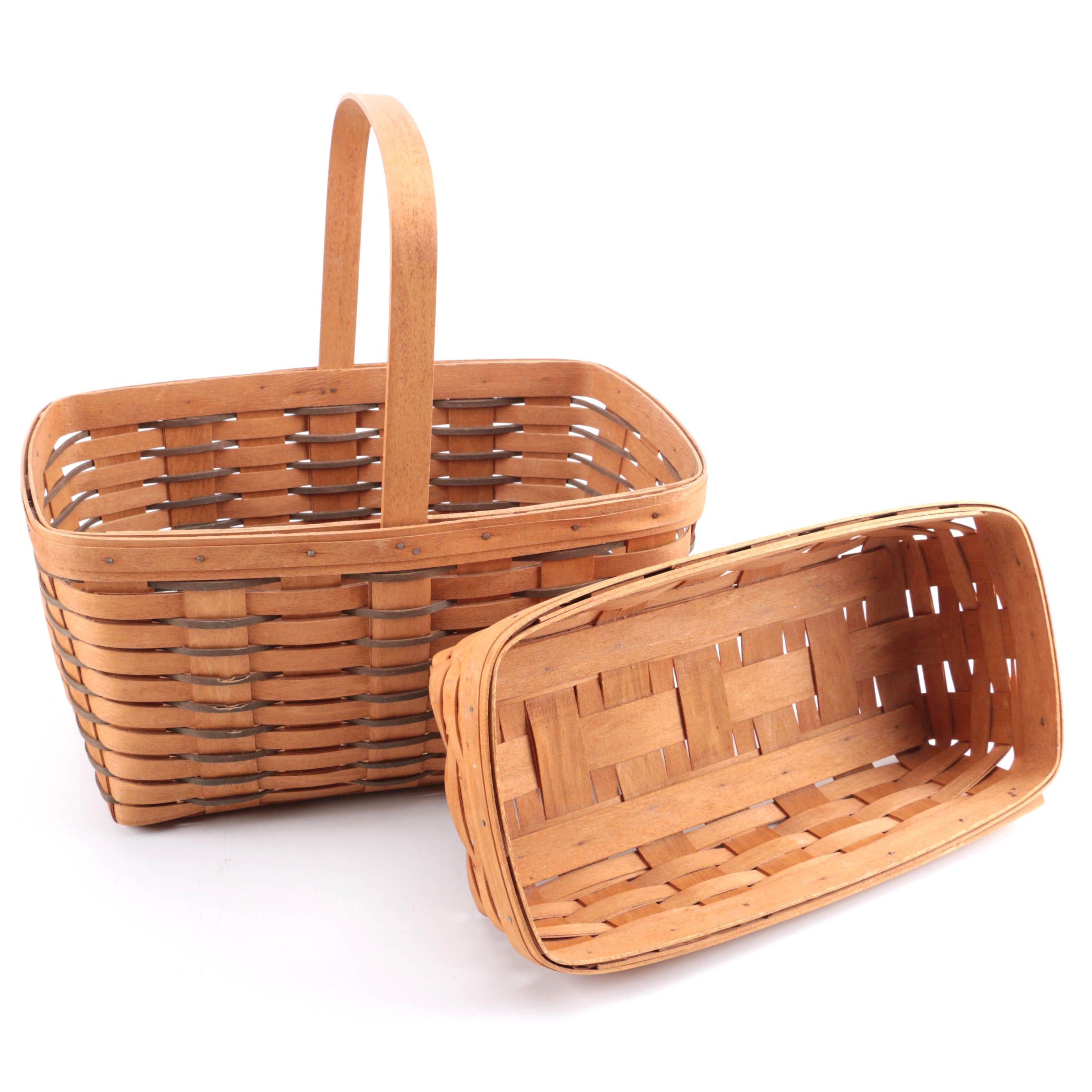 Pair of 1990s Longaberger Handwoven Baskets