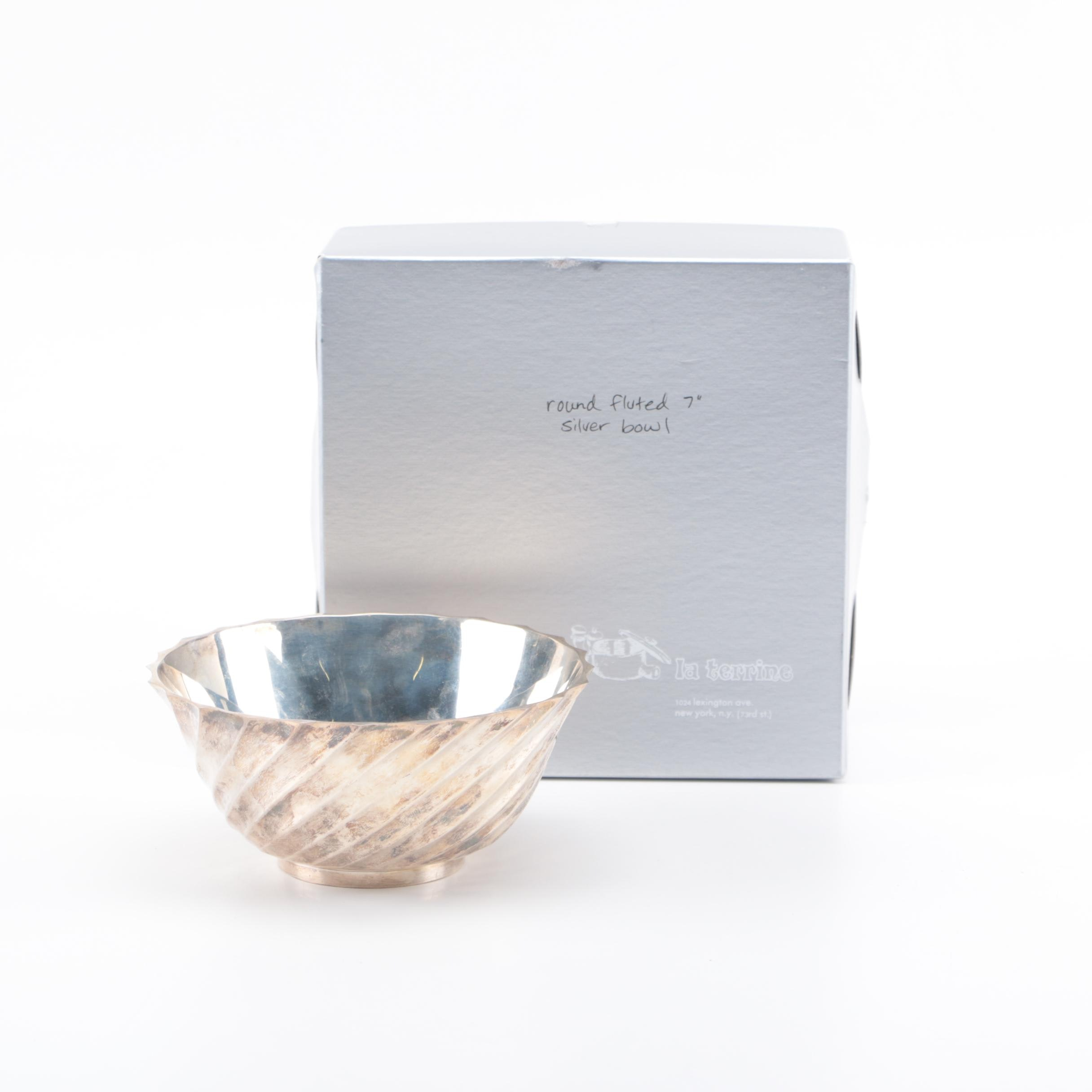 William Adams Italian Silver Plate Fluted Bowl