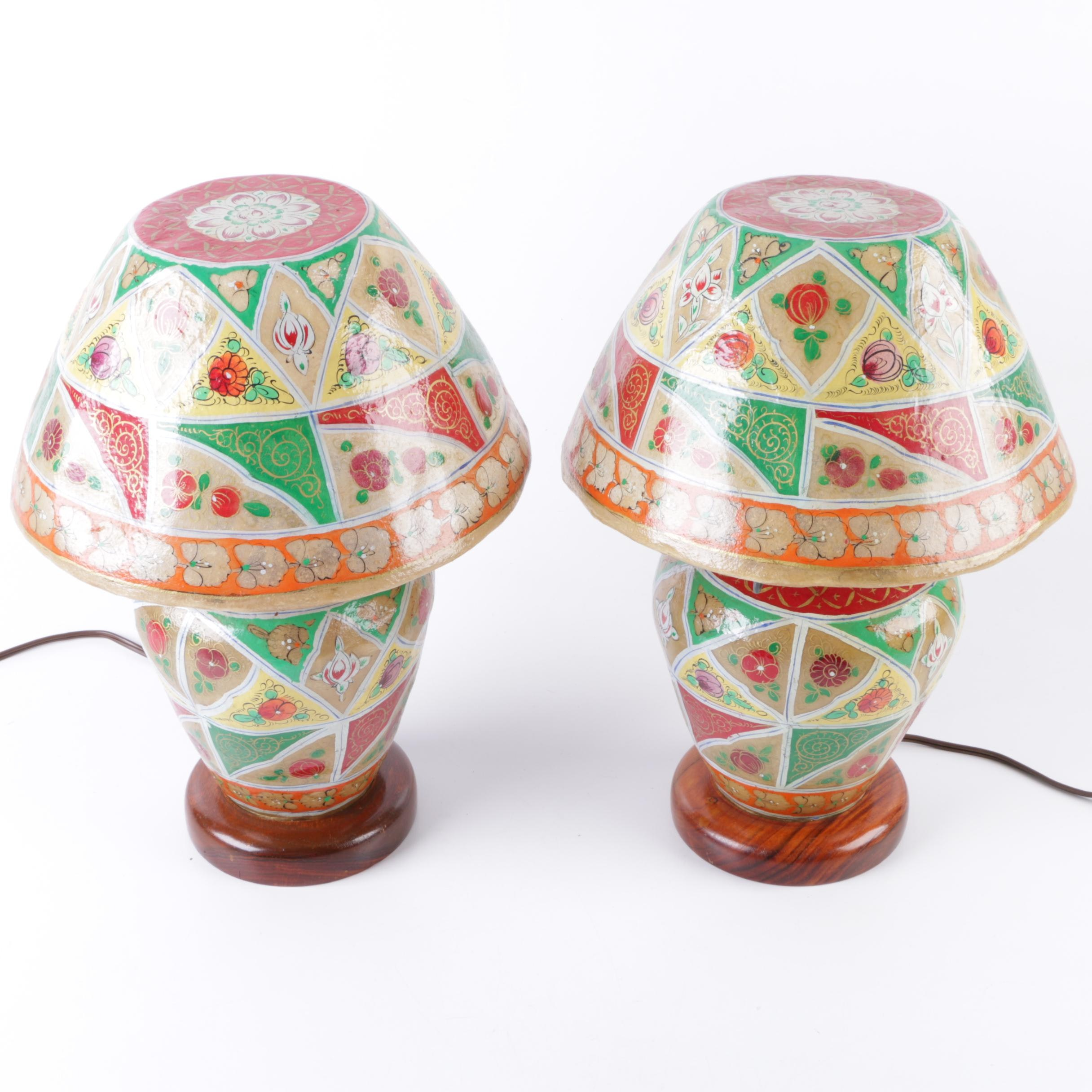 Hand Painted Camel Skin Accent Lamps