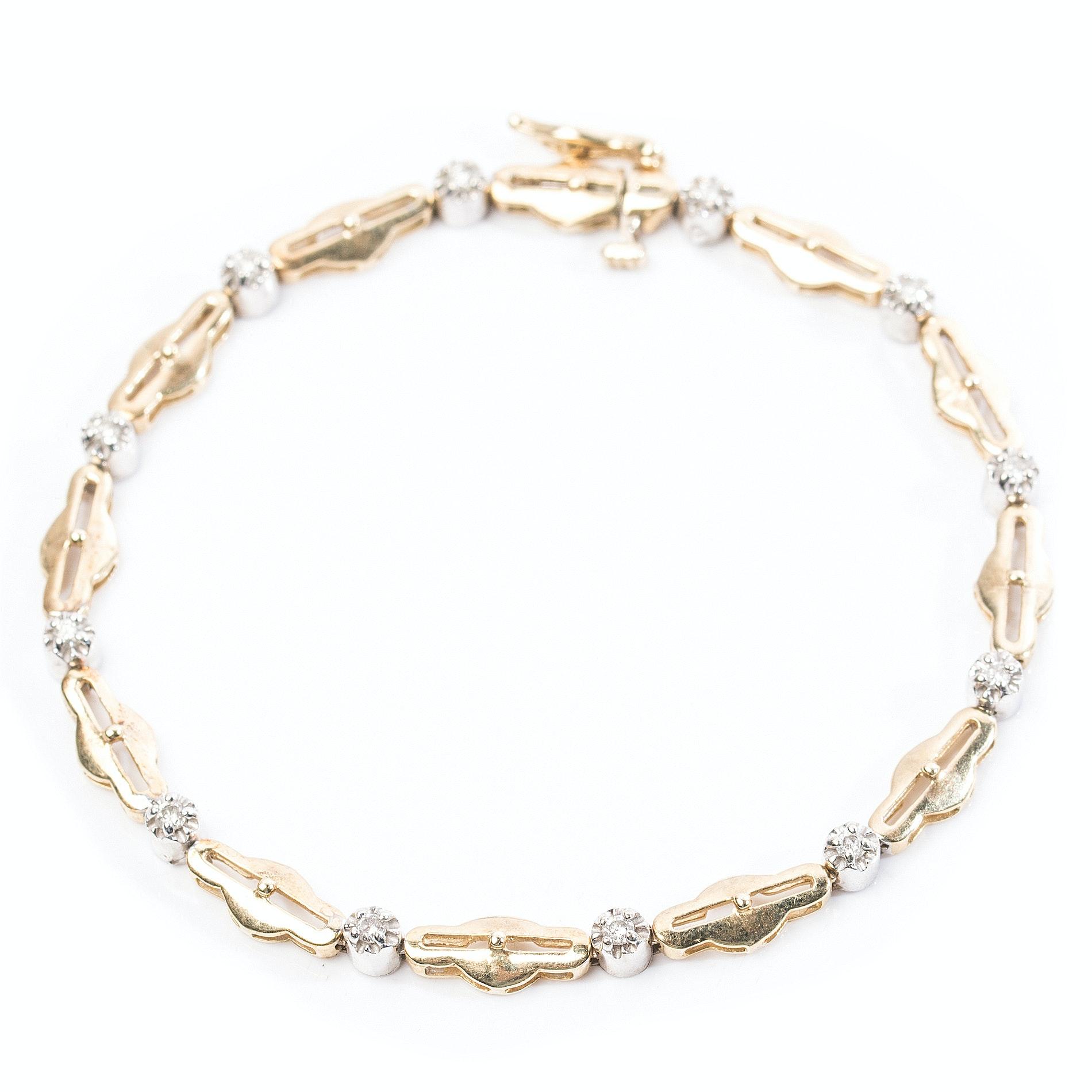 14K Yellow Gold Twelve-Diamond Open Link Bracelet