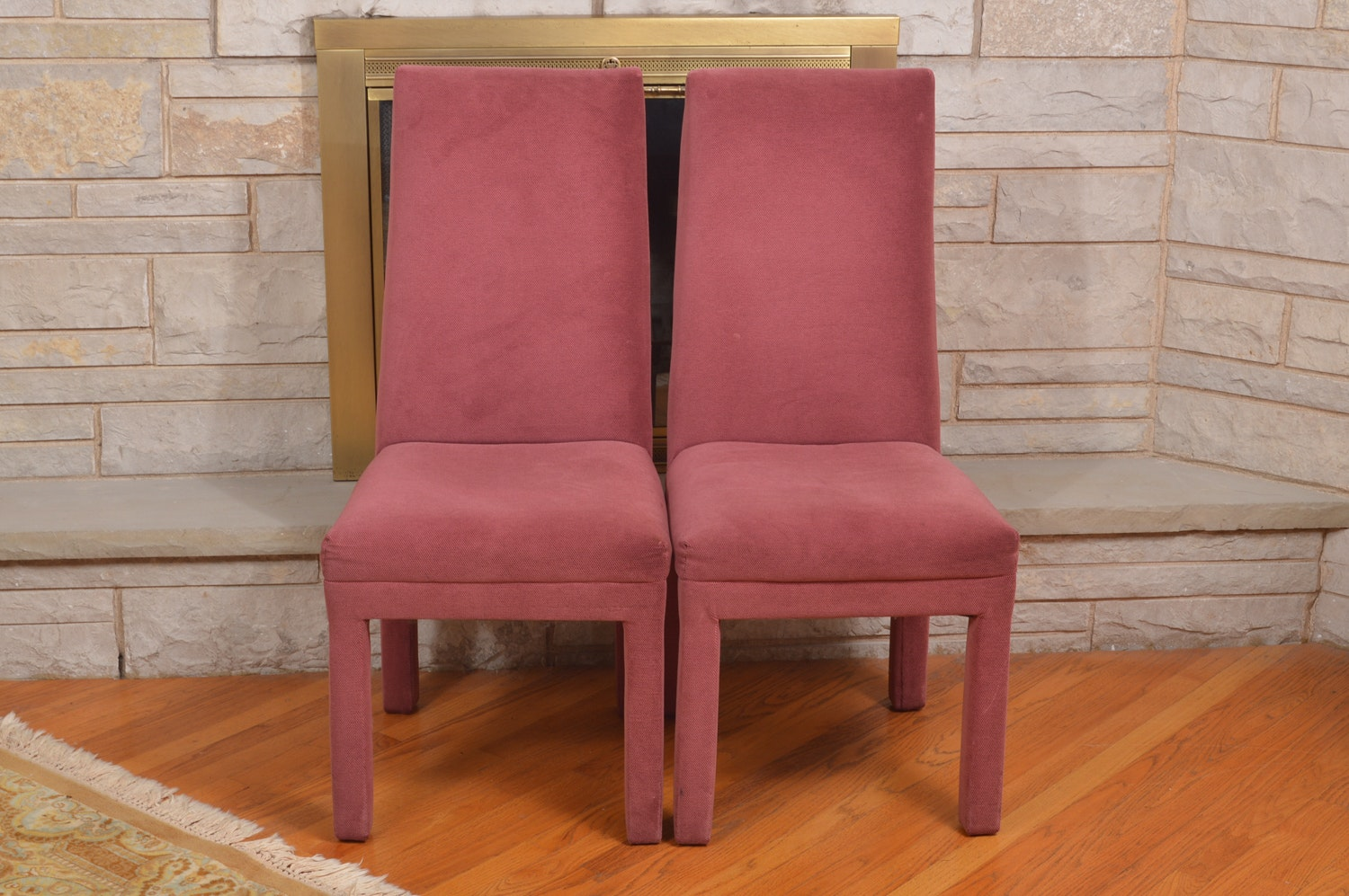 Light Red Upholstered Parsons Chairs