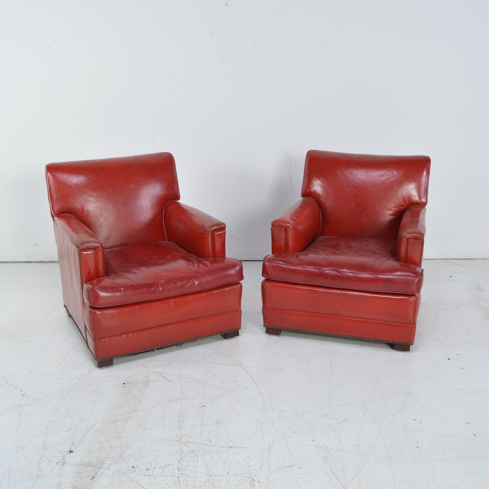 Red Leather Armchairs, Circa 1950