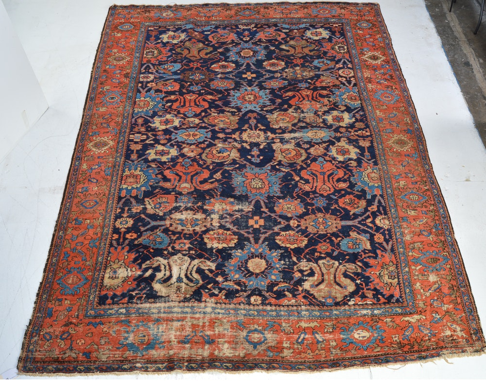Large Antique Hand-Knotted Persian Bijar Area Rug
