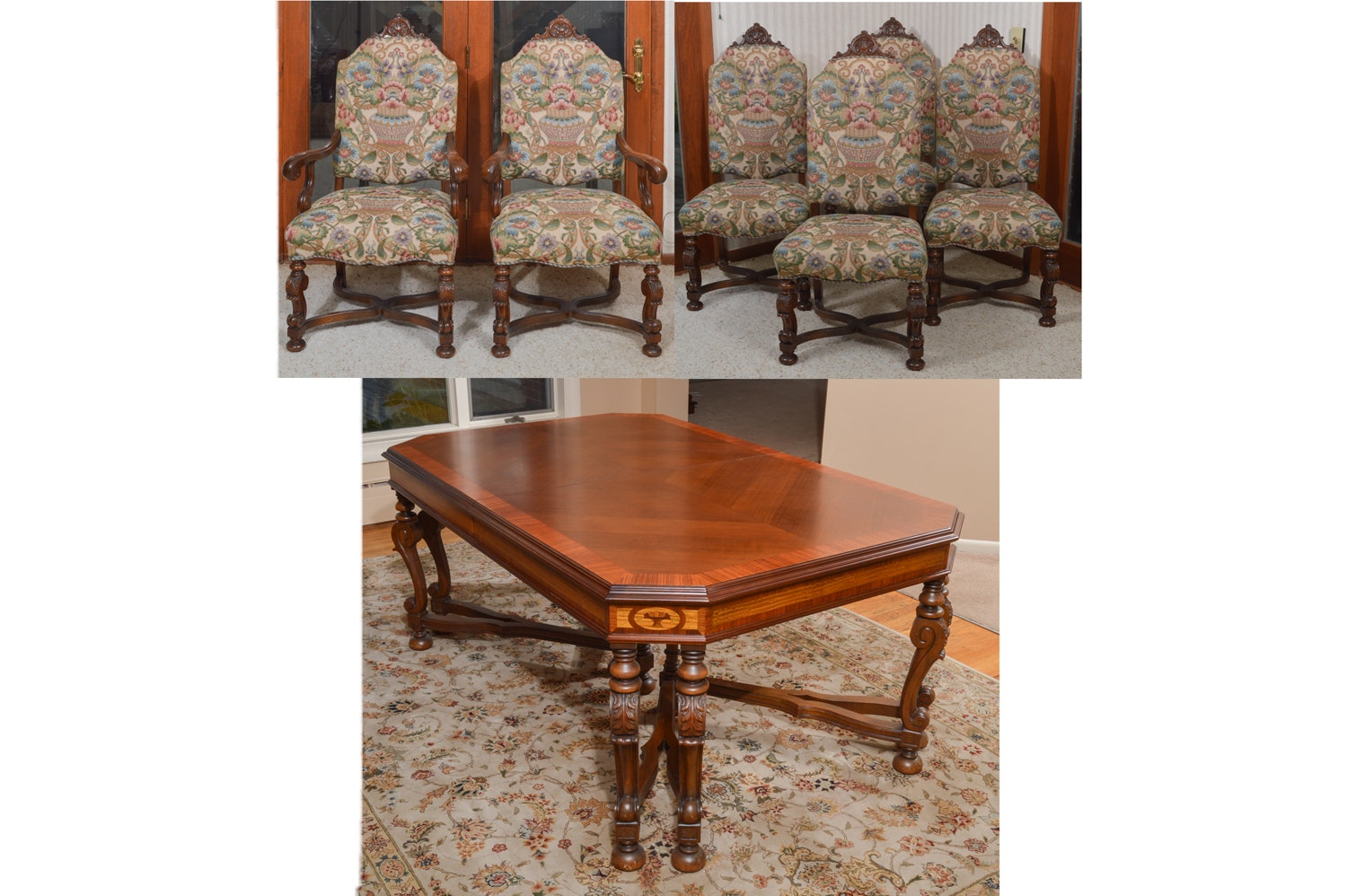 Vintage Federal Style Dining Room Table With Leaf Insert and Dining Chairs