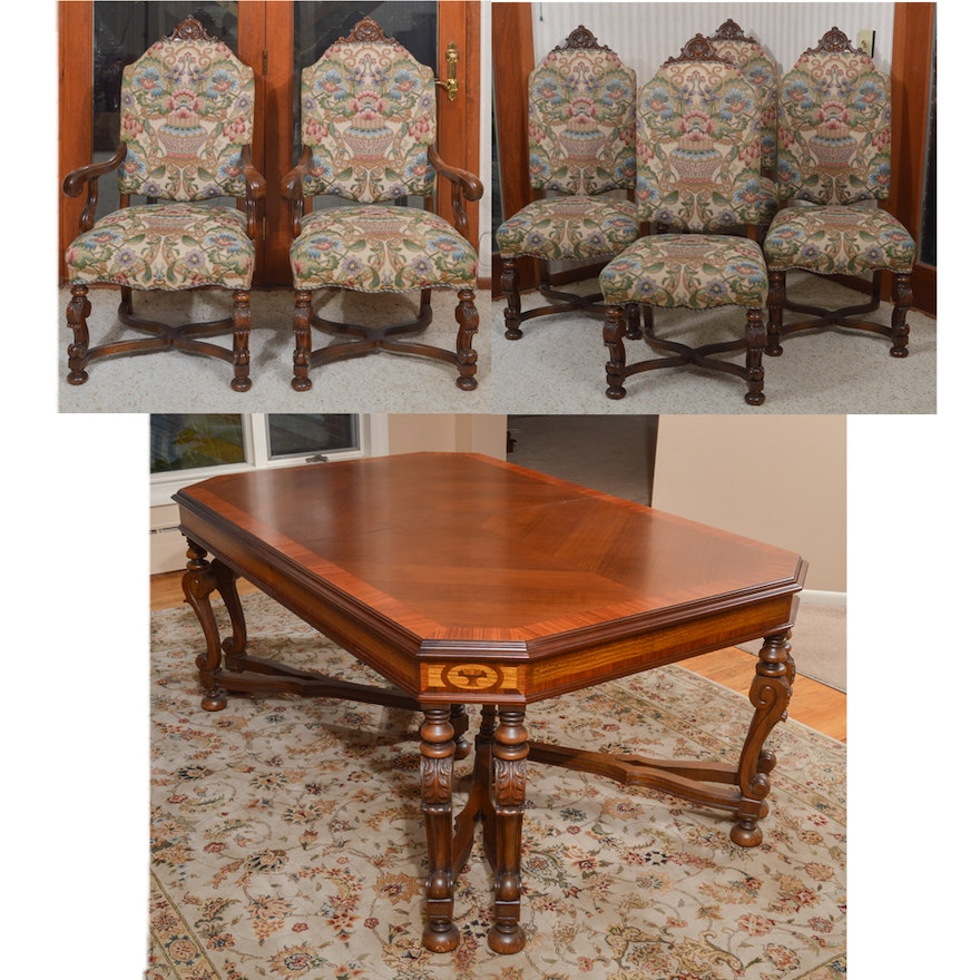 Jacobean Style Expandable Dining Room Table With Chairs
