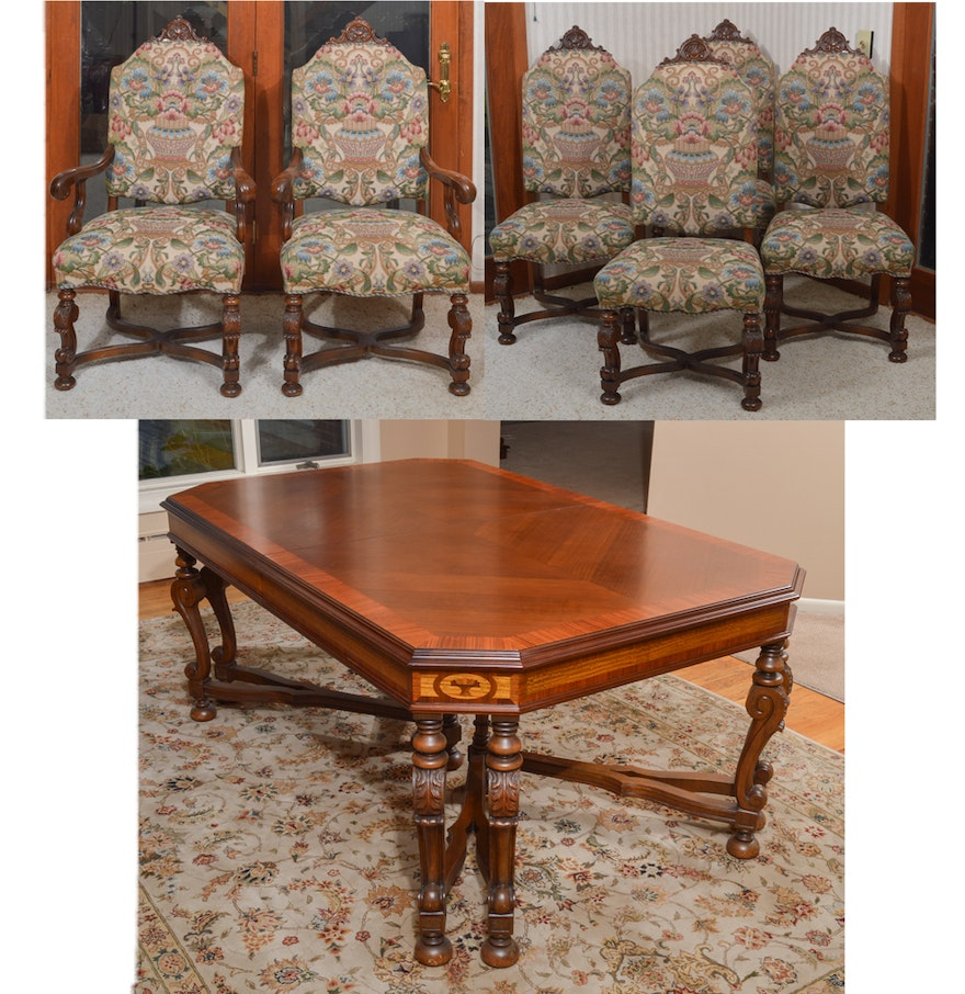 jacobean style expandable dining room table with dining